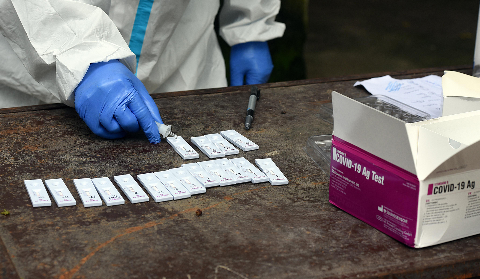 A health worker conducts a coronavirus rapid antigen test from collected swab samples in New Delhi, India.