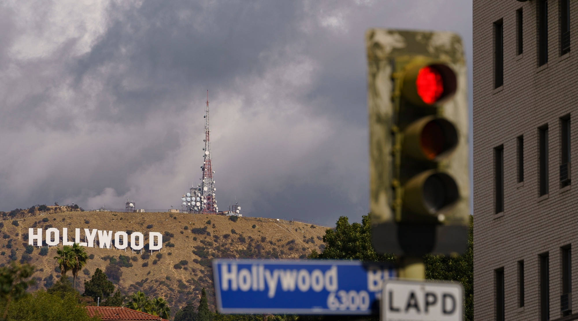 Clouds move over the Hollywood sign in Los Angeles on November 7.
