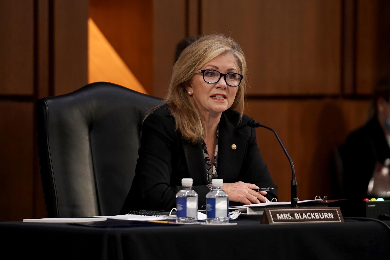 Sen. Marsha Blackburn speaks during a hearing on Capitol Hill in October 2020.