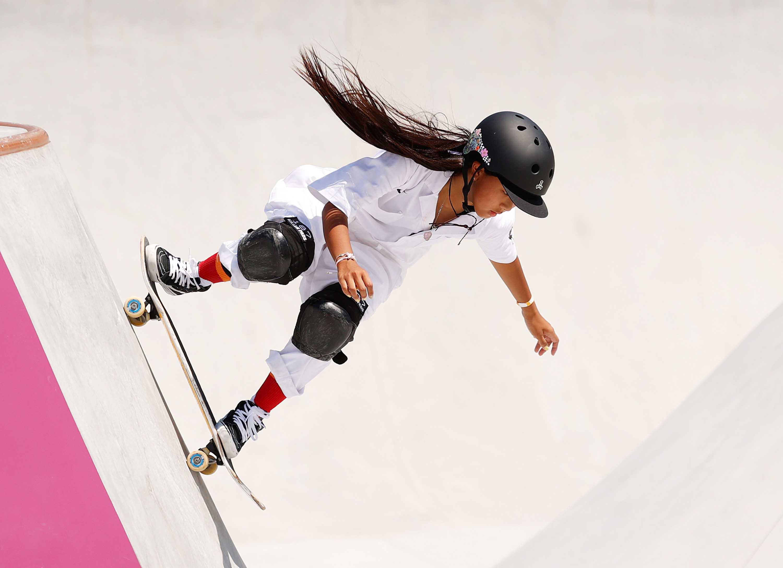 Kokona Hiraki of Team Japan competes during the first run of the women's skateboarding park finals on August 4.