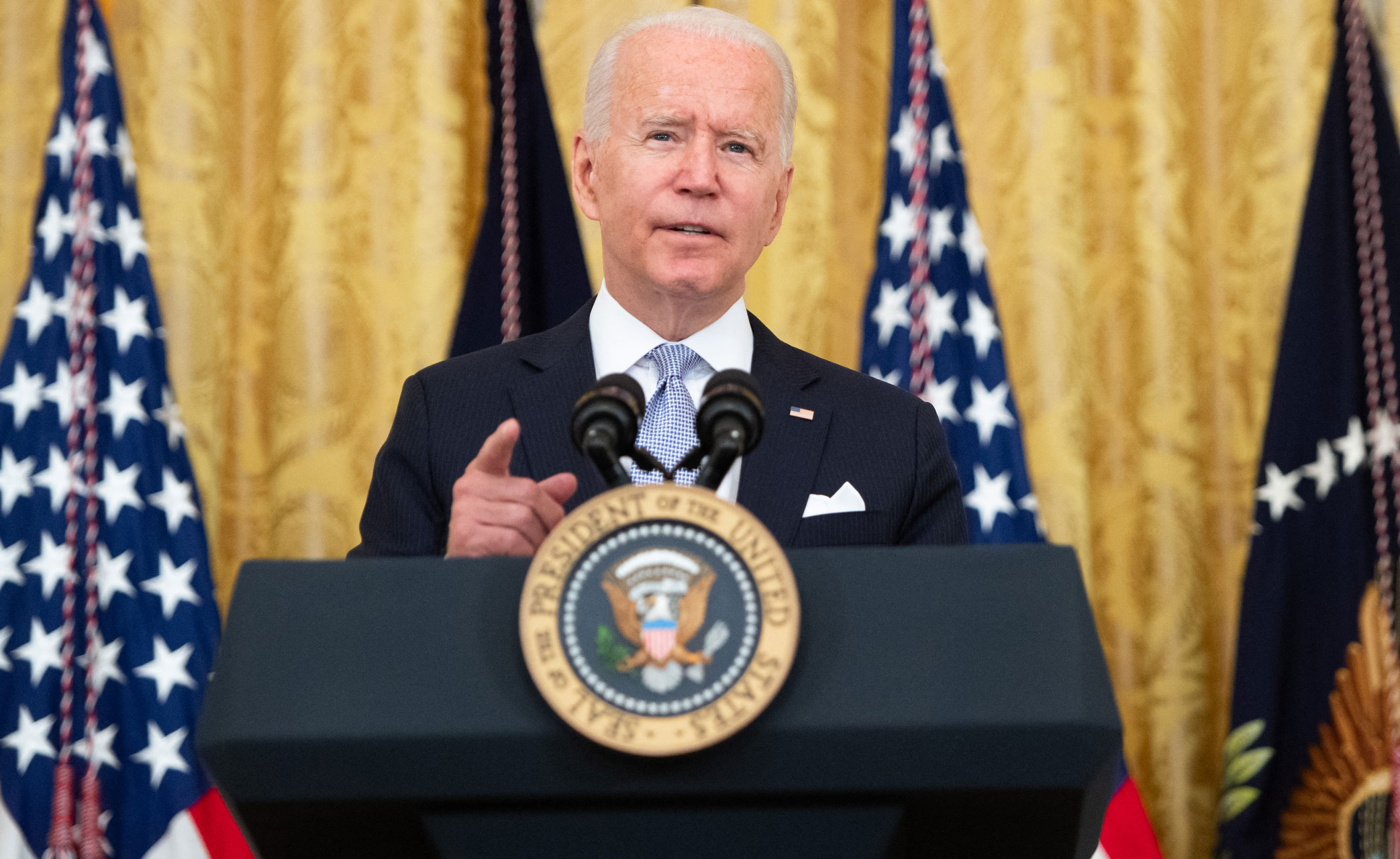 President Joe Biden speaks about Covid vaccinations in the East Room of the White House on Thursday, July 29.