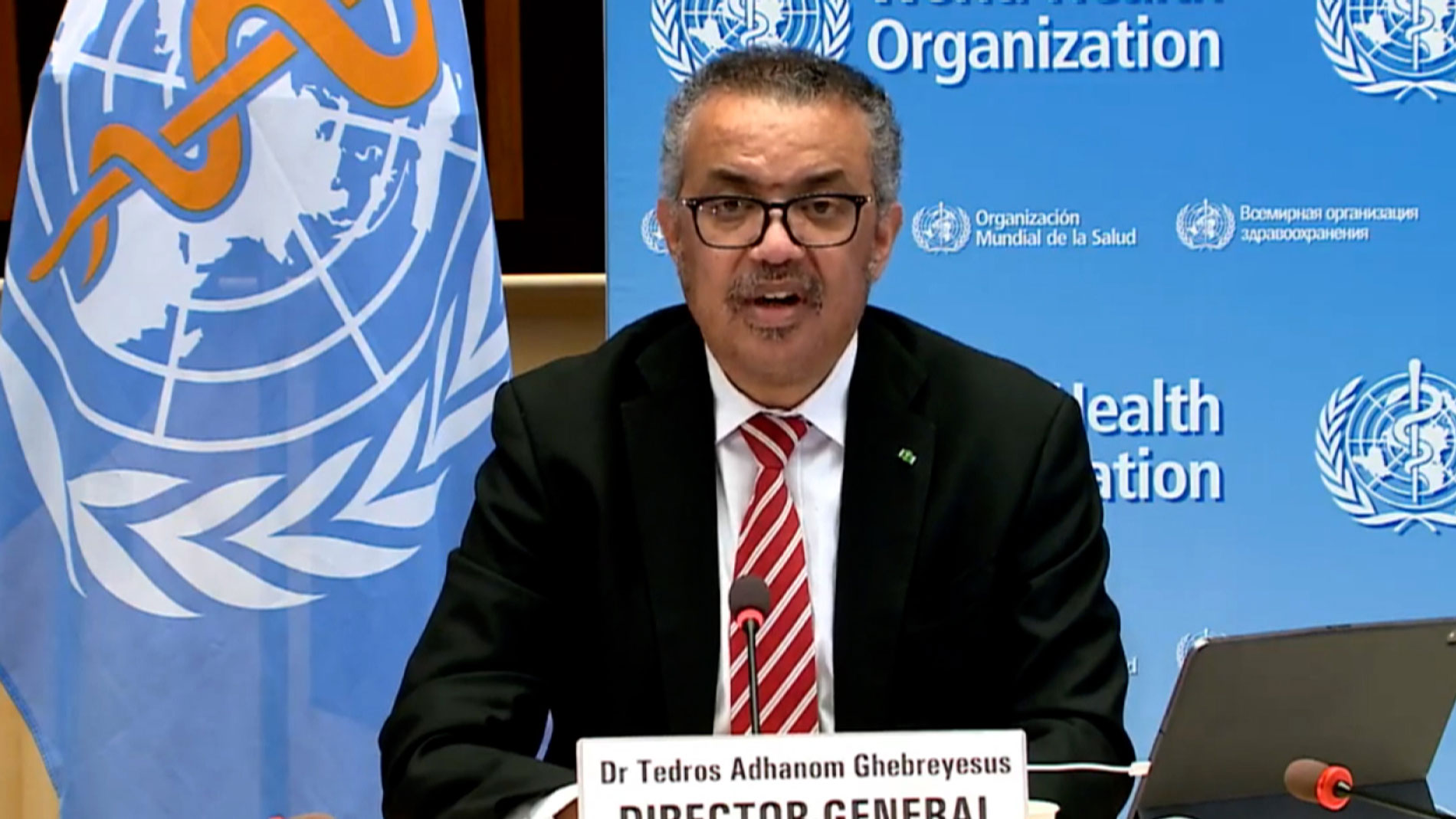 Tedros Adhanom Ghebreyesus, director-general of the World Health Organization, speaks during Thursday's news briefing.