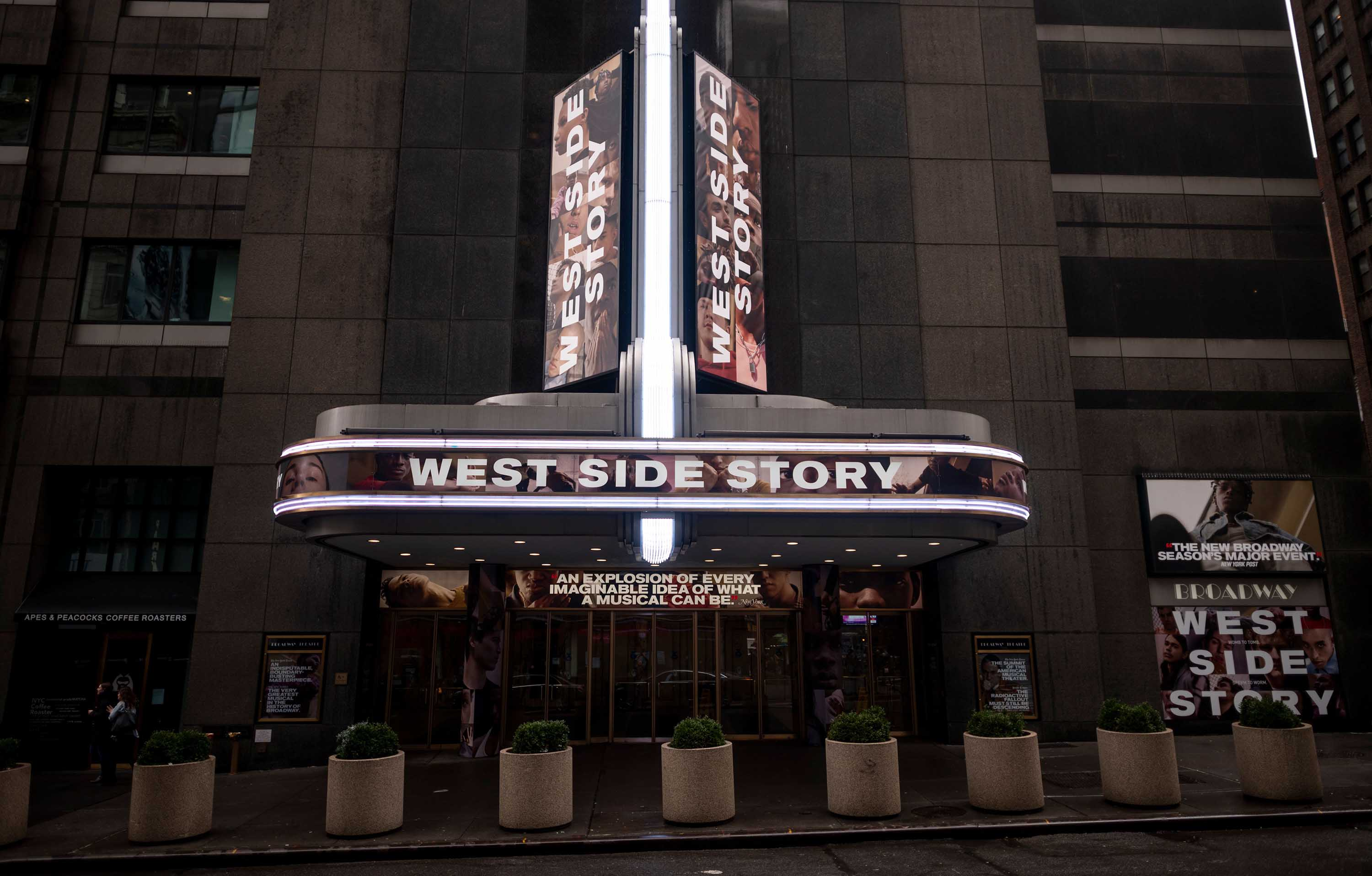 A marquee at the Broadway Theatre in New York advertises the 'West Side Story' musical on February 7.