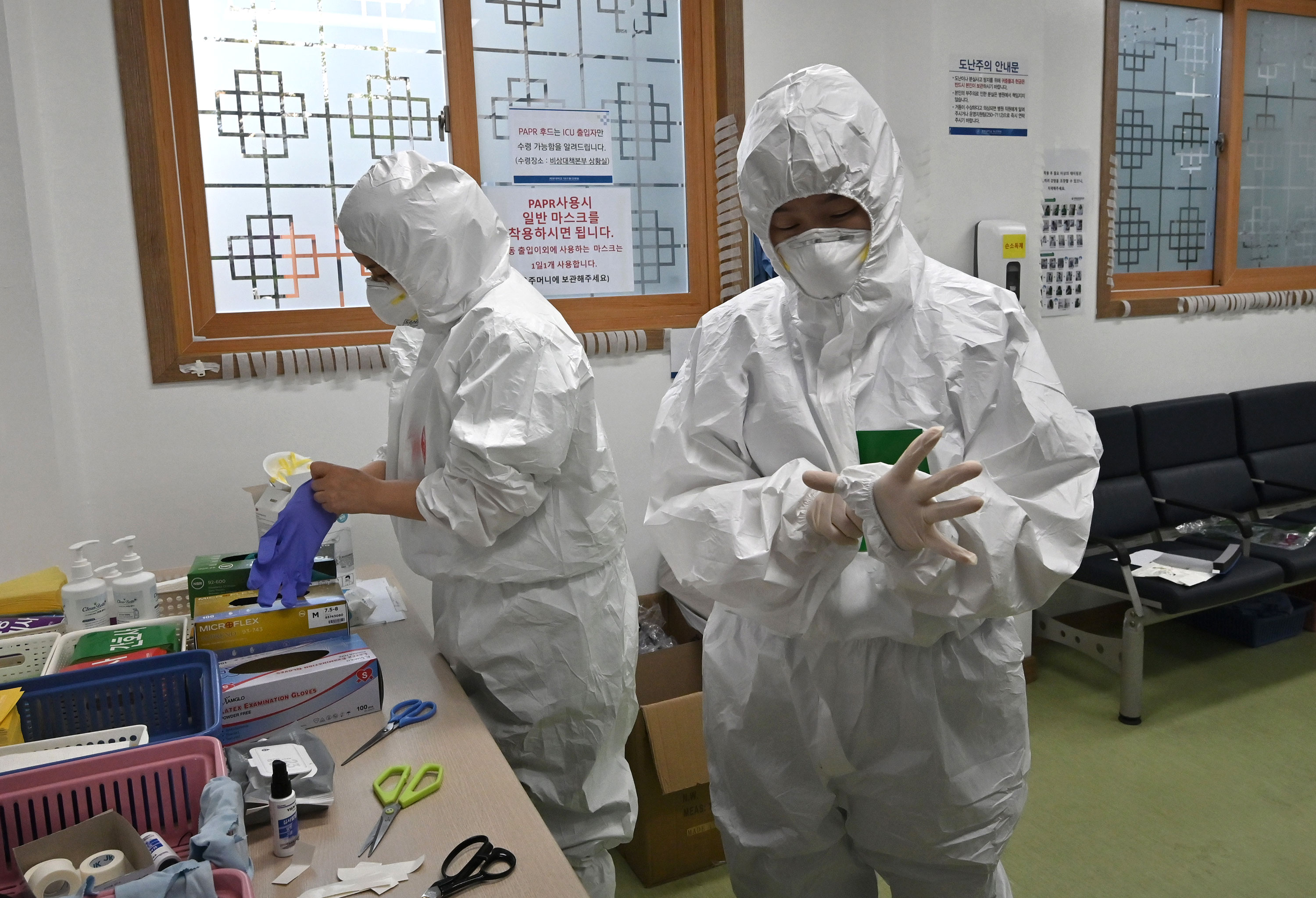 Nurses prepare for a shift caring for coronavirus patients at Keimyung University Daegu Dongsan Hospital in Daegu, South Korea on April 29.