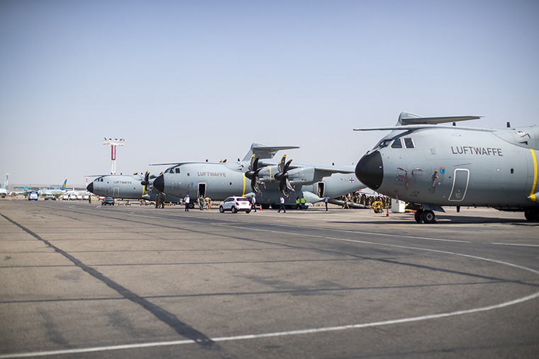 A-400M transport aircrafts are seen upon arrival after they evacuated people from Afghanistan at Tashkent International Airport in Uzbekistan on August 17, 2021.