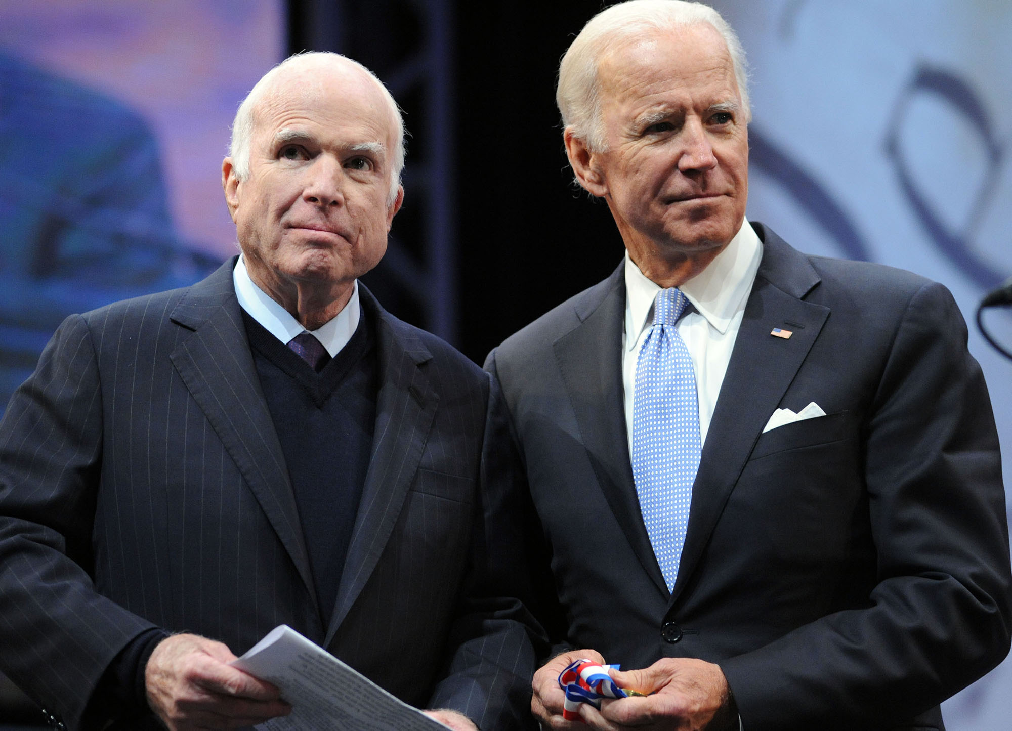 Sen. John McCain receives the the 2017 Liberty Medal from former Vice President Joe Biden at the National Constitution Center on October 16, 2017 in Philadelphia, Pennsylvania.