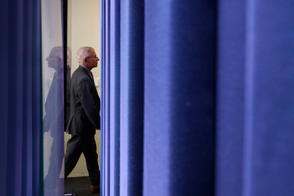 National Institute of Allergy and Infectious Diseases Director Anthony Fauci leaves after the daily briefing of the White House Coronavirus Task Force on April 10 at the White House in Washington.