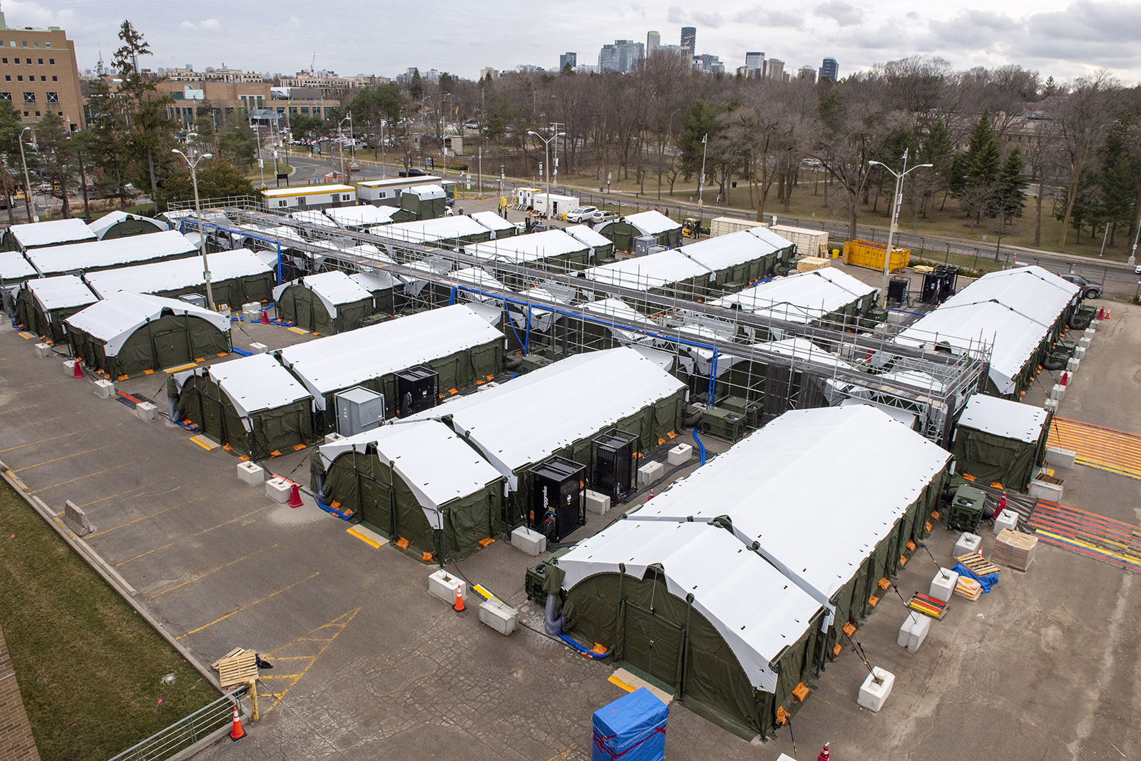 The field hospital in the parking lot of Sunnybrook Hospital in Toronto, Wednesday, March 31.