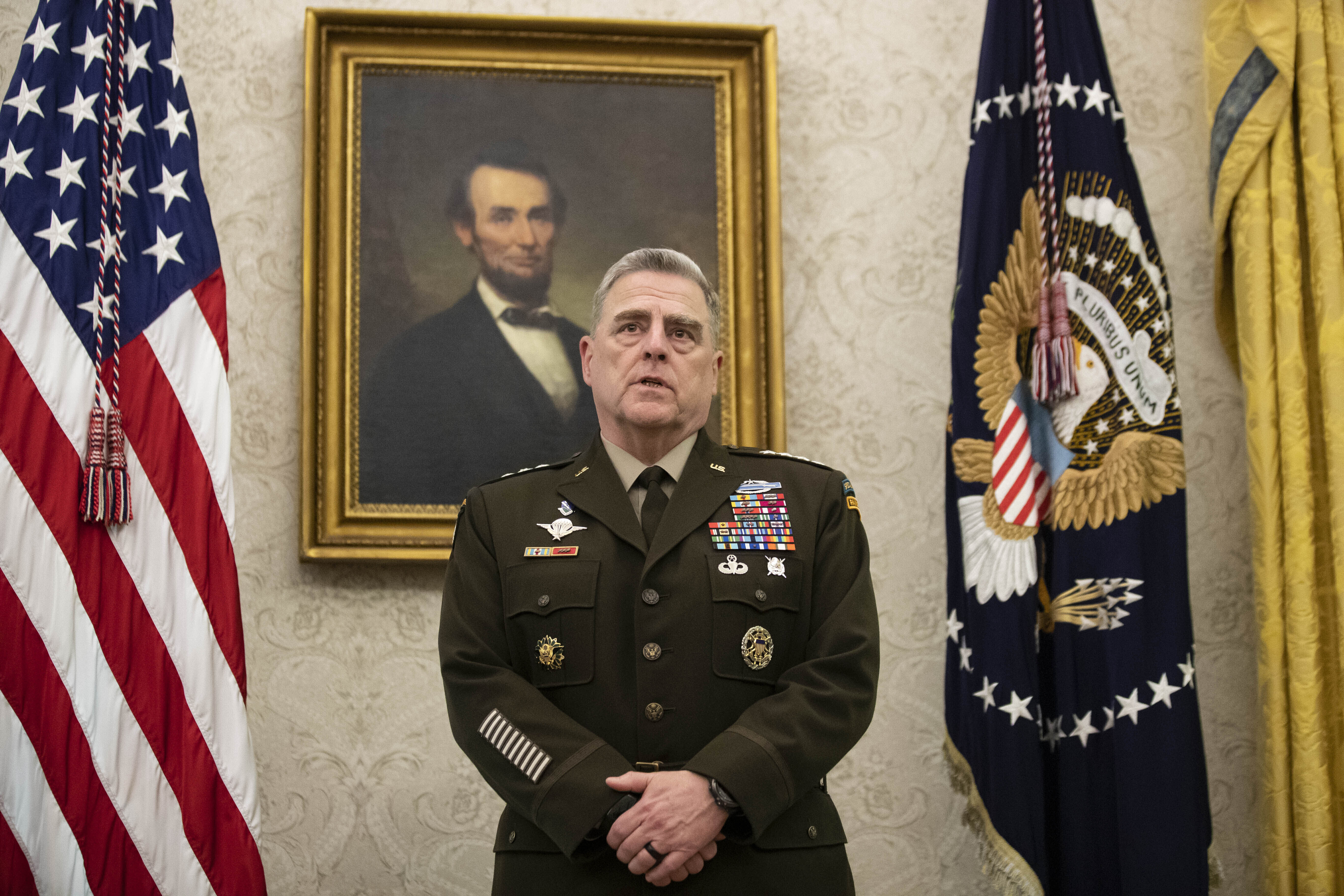 Gen. Mark Milley, chairman of the Joint Chiefs of Staff, speaks in the Oval Office of the White House on May 15.