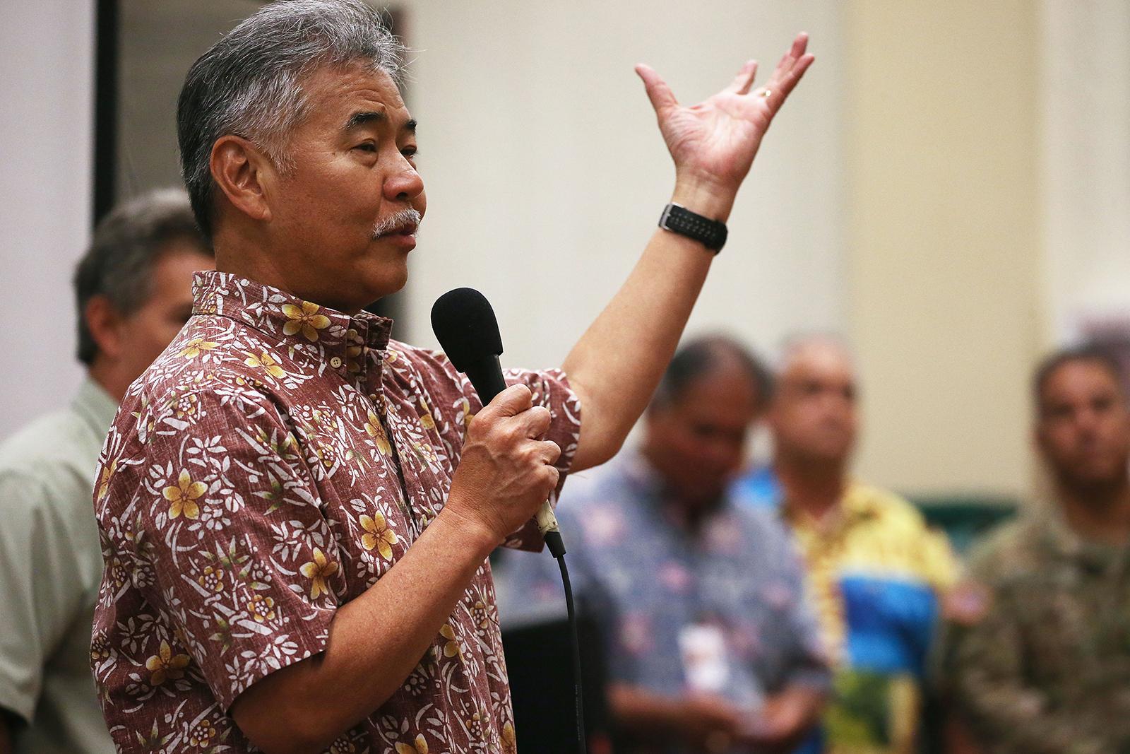 Hawaii Governor David Ige speaks at a community meeting in Pahoa, Hawaii, on May 7.