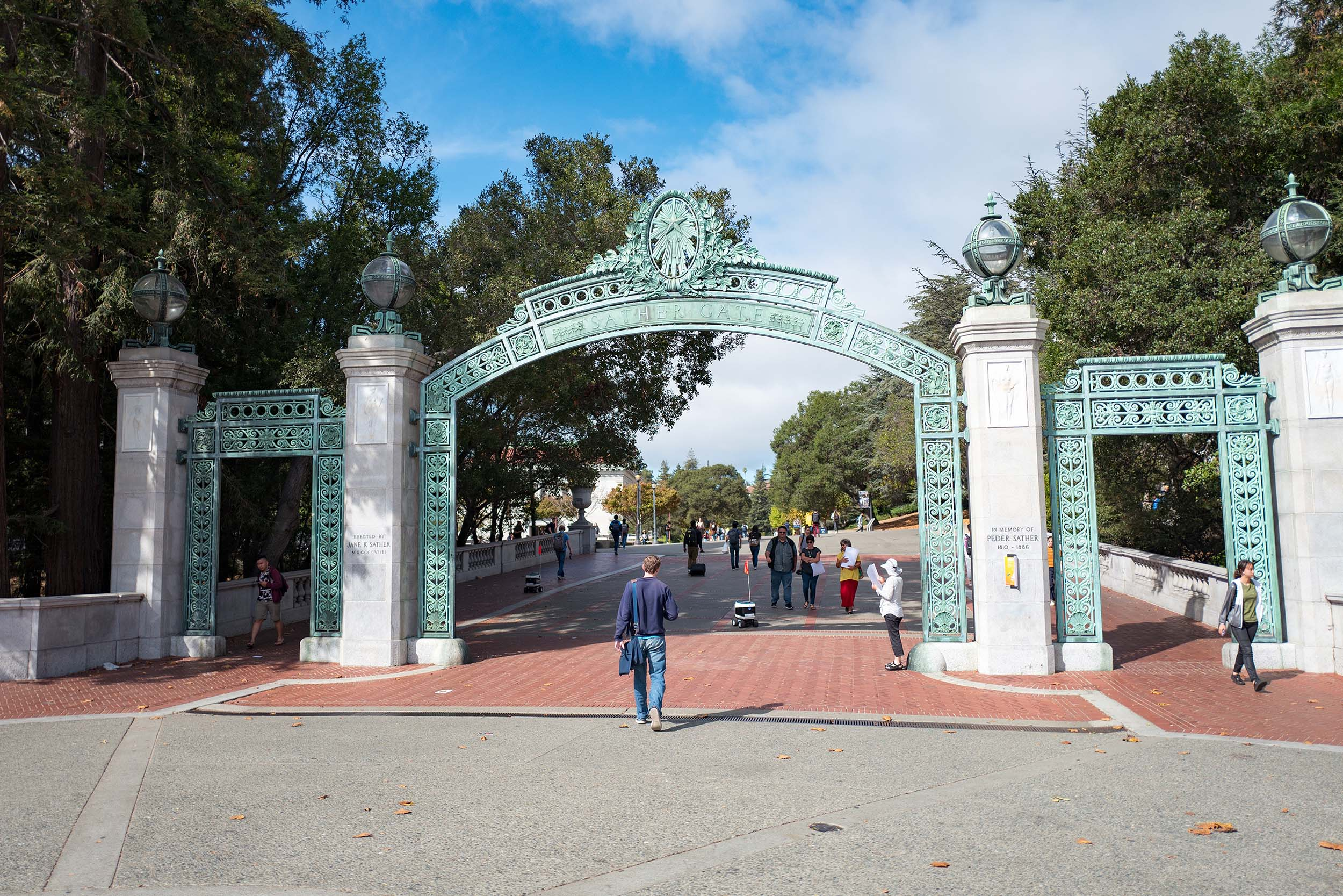The iconic Sather Gate on the campus of UC Berkeley in downtown Berkeley, California, on October 9, 2018.