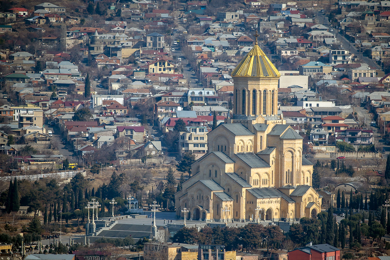In this file photo, the biggest cathedral of Georgia, The Holy Trinity Cathedral of Tbilisi, commonly known as Sameba, is seen in Tbilisi, Georgia on February 18, 2020.