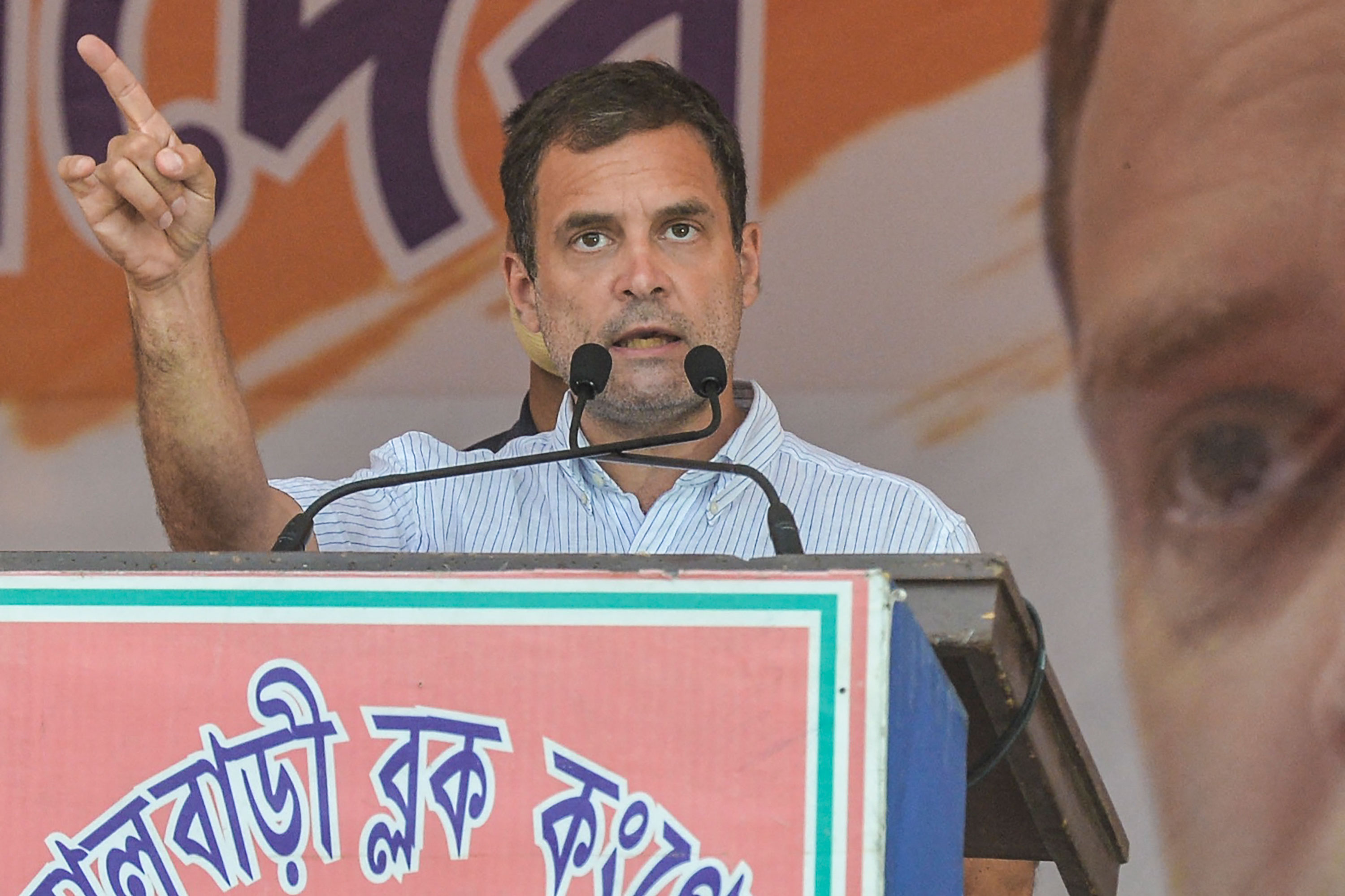 India's Congress party leader Rahul Gandhi gestures as he addresses a rally during an election campaign at Shibmandir on the outskirts of Siliguri on April 14.