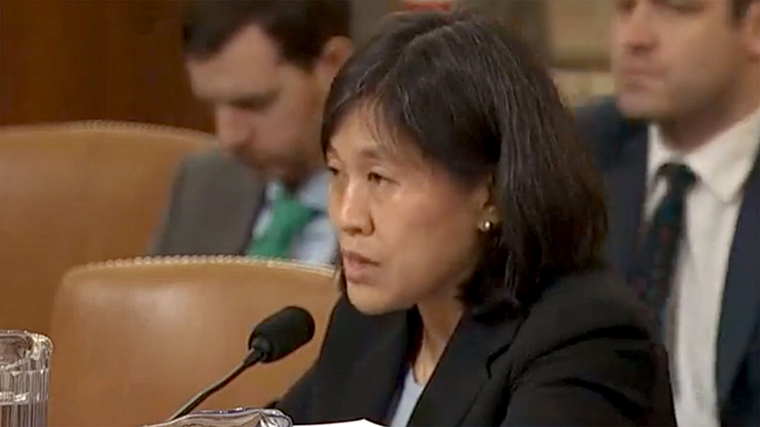 Katherine Tai speaks during a House Ways and Means Committee meeting to consider the US-Mexico-Canada (USMCA) trade agreement in 2019.
