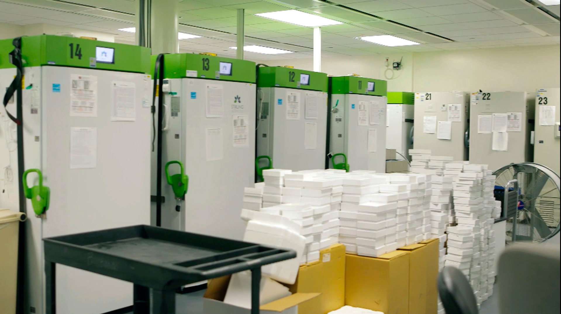 The room where coronavirus vaccines will be kept in super-cold storage at Cedars-Sinai Medical Center in Los Angeles, California.