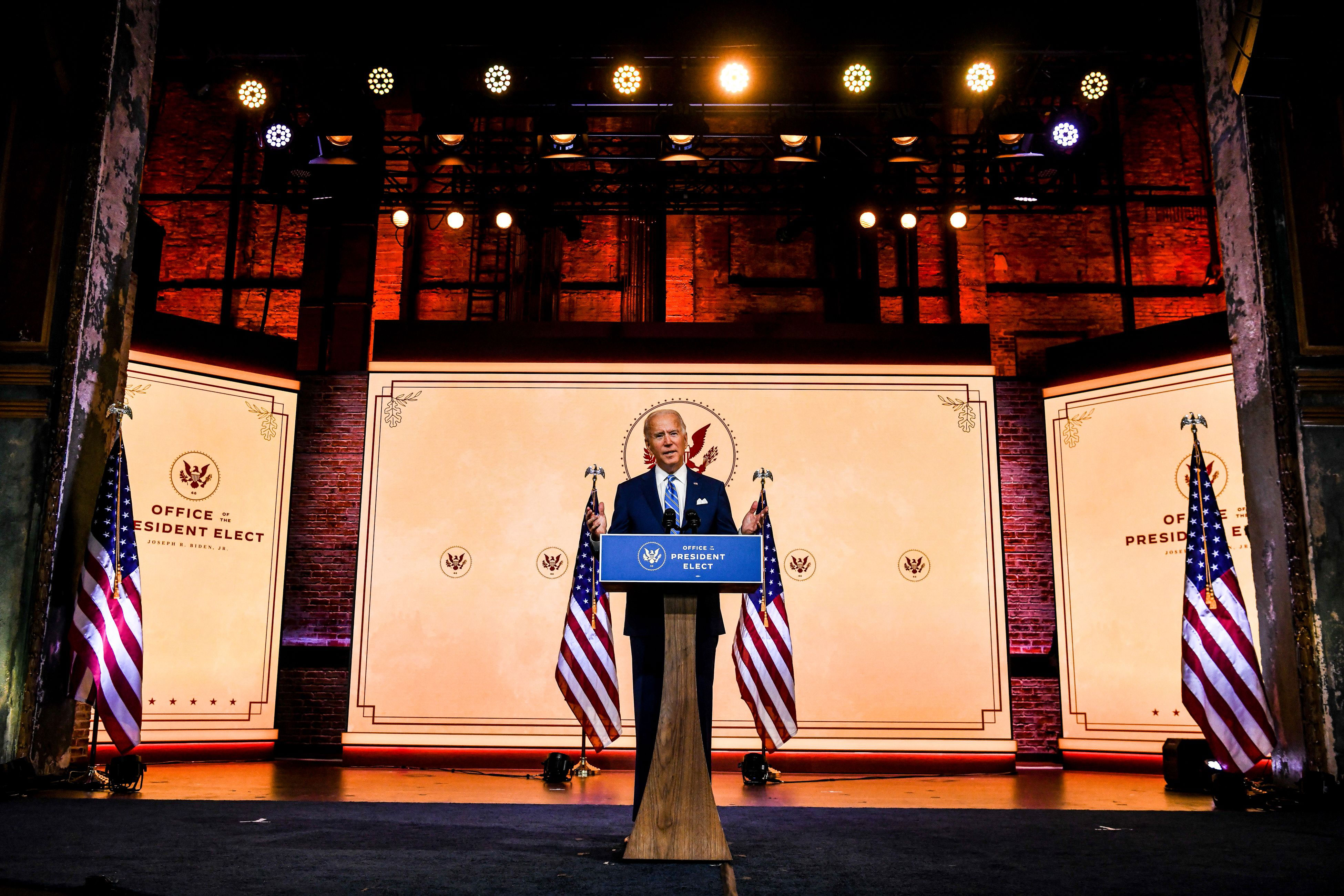 President-elect Joe Biden delivers a Thanksgiving address at The Queen theater in Wilmington, Delaware, on November 25.
