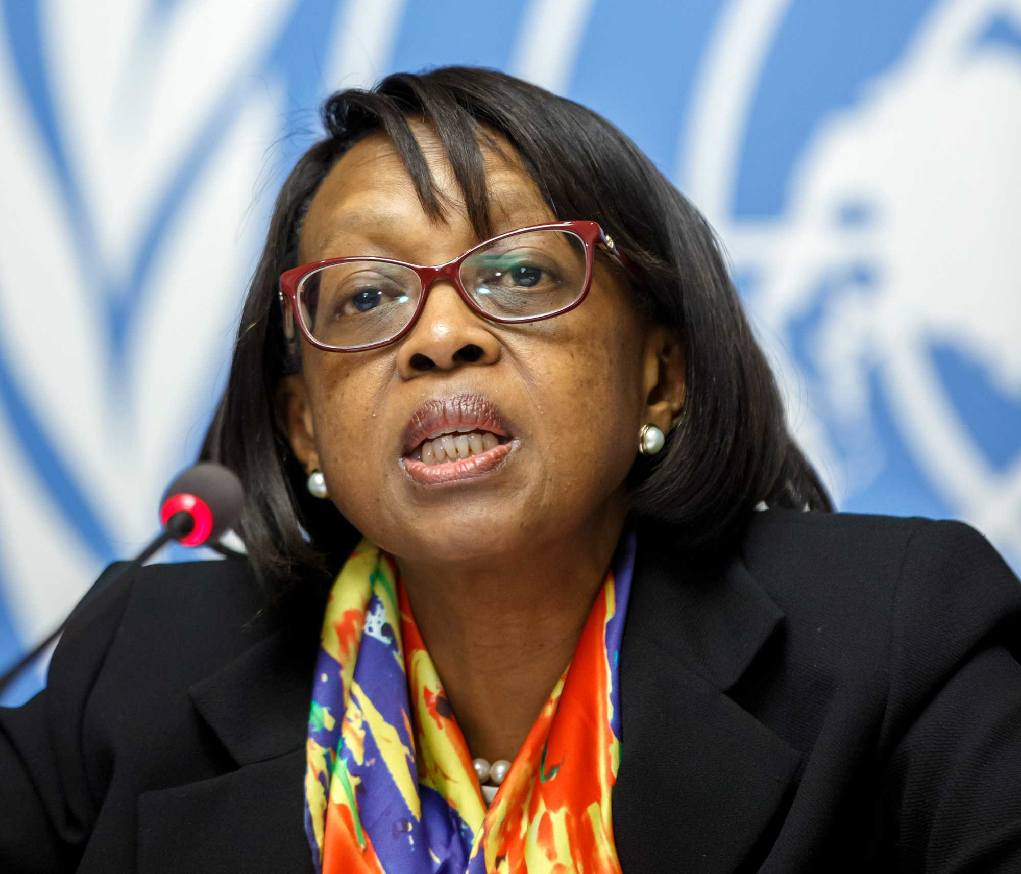 Dr. Matshidiso Moeti, World Health Organization regional director for Africa, speaks during a press conference at the European headquarters of the United Nations in Geneva, Switzerland, on February 1, 2019.