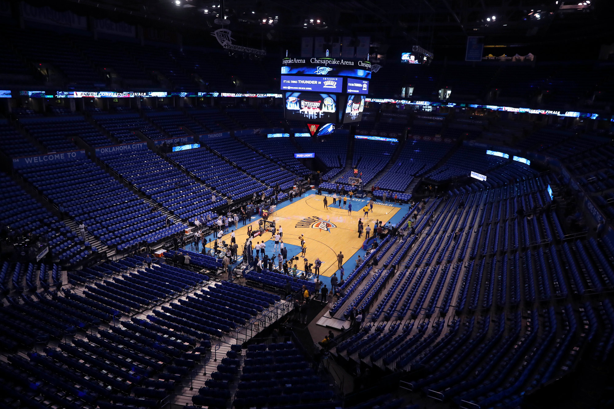 A general view of the court is seen before a game at Chesapeake Energy Arena in Oklahoma City on May 28, 2016.