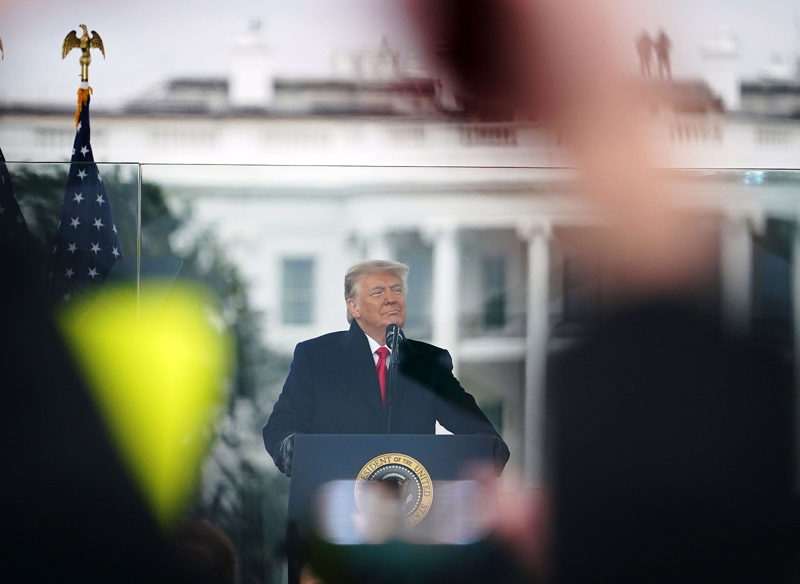 """Then-President Trump addresses the """"Save America March"""" on January 6."""