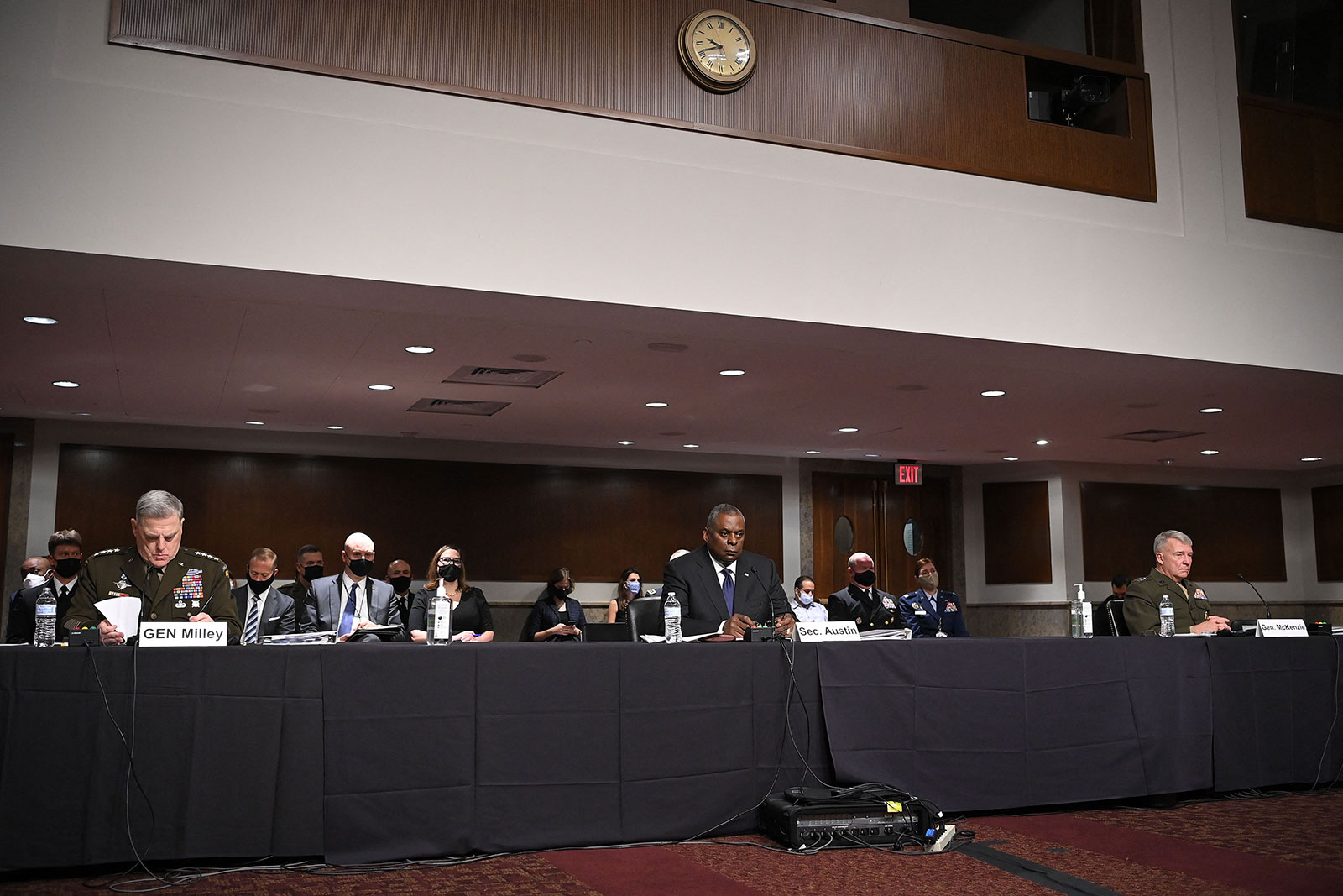 From left, Chairman of the Joint Chiefs Gen. Mark Milley, Secretary of Defense Lloyd Austin and Leader of US Central Command Gen. Frank McKenzie testify on Tuesday.
