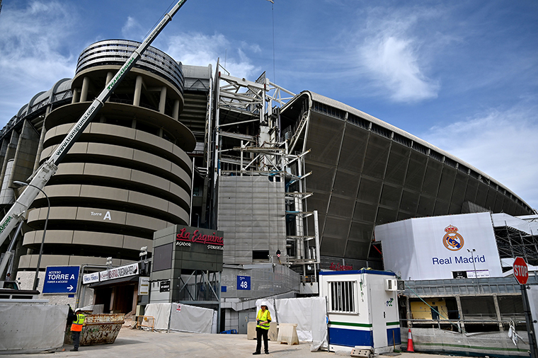 External view of the Santiago Bernabeu stadium, which started a renovation project in 2019. taken on March 12.