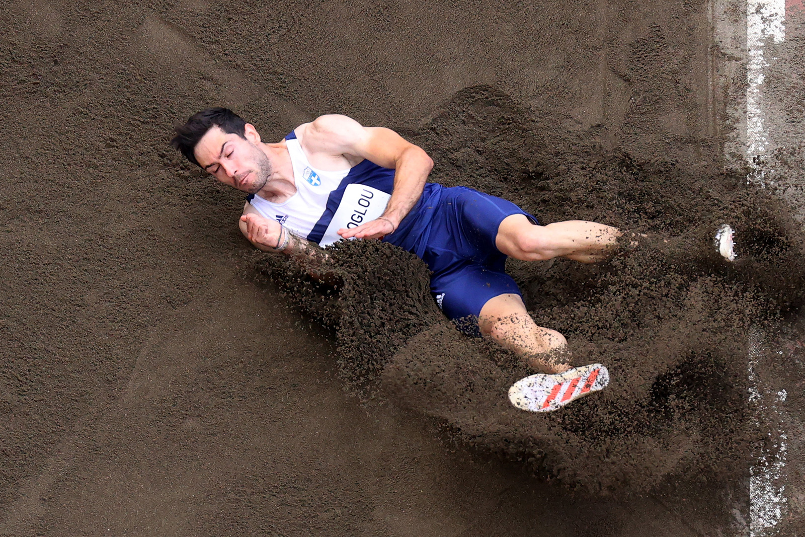 Greece's Miltiadis Tentoglou competes in the long jump final on Monday.