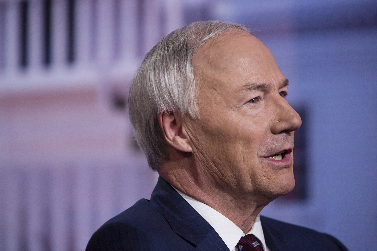 Gov. Asa Hutchinson speaks during a Bloomberg Television interview in New York on May 28, 2019.