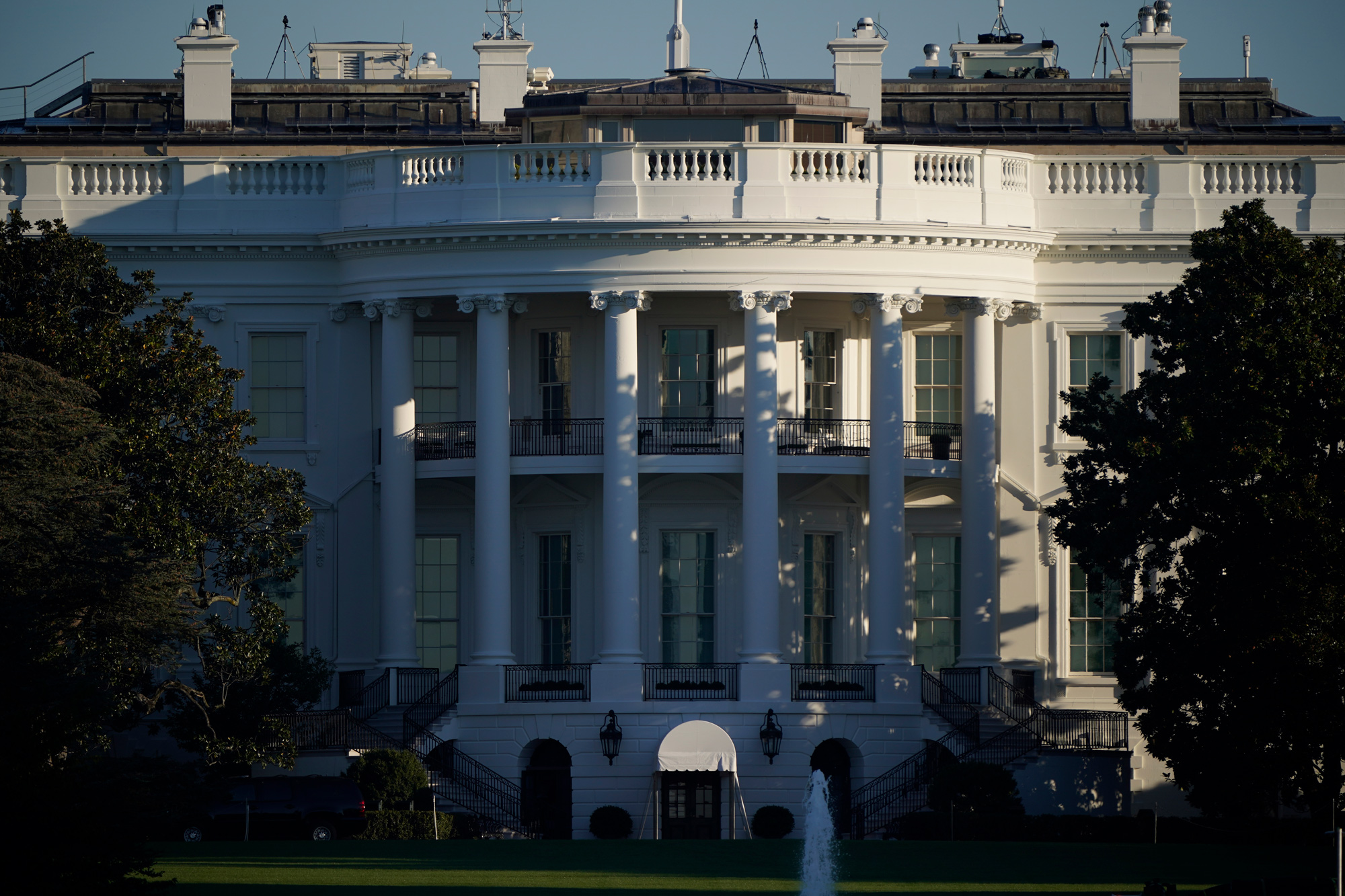 The White House is seen in Washington, DC, on October 6.