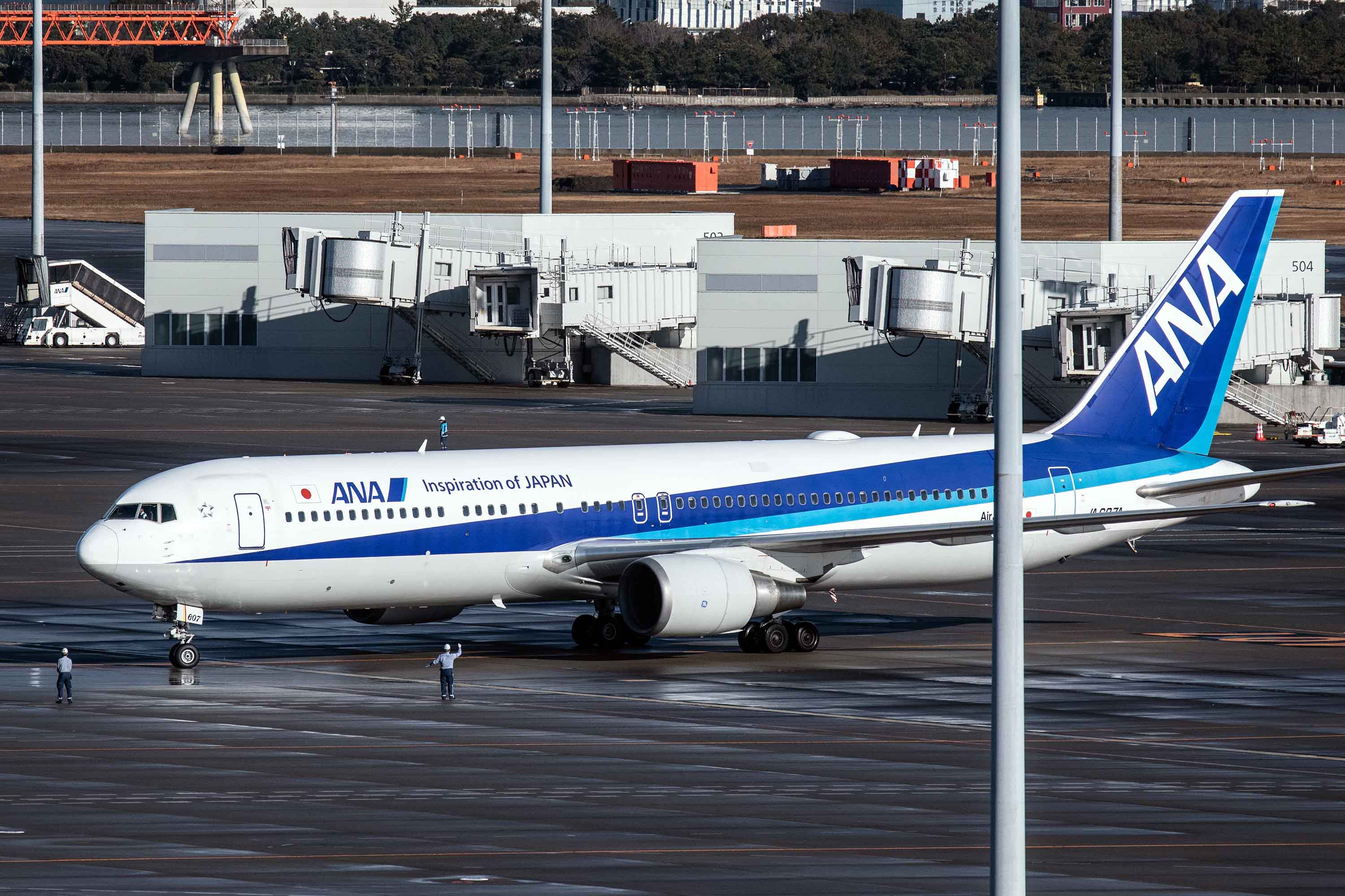 An airplane carrying Japanese citizens repatriated from Wuhan amidst the coronavirus outbreak lands at Haneda airport on January 29.