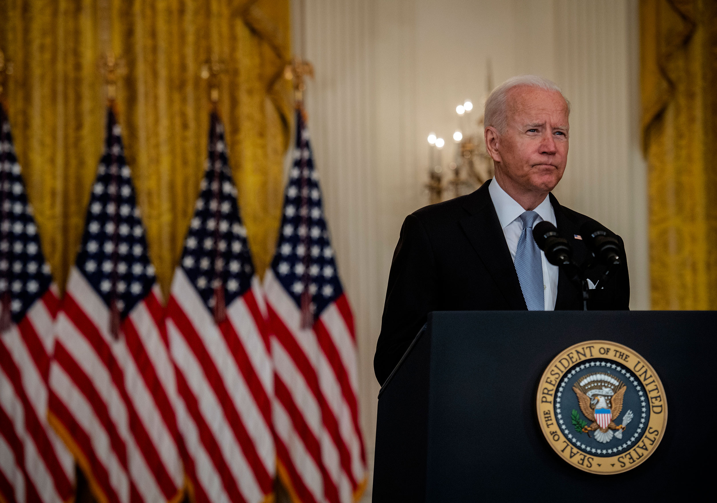 President Joe Biden delivers remarks on Afghanistan from the East Room of the White House on August 16.