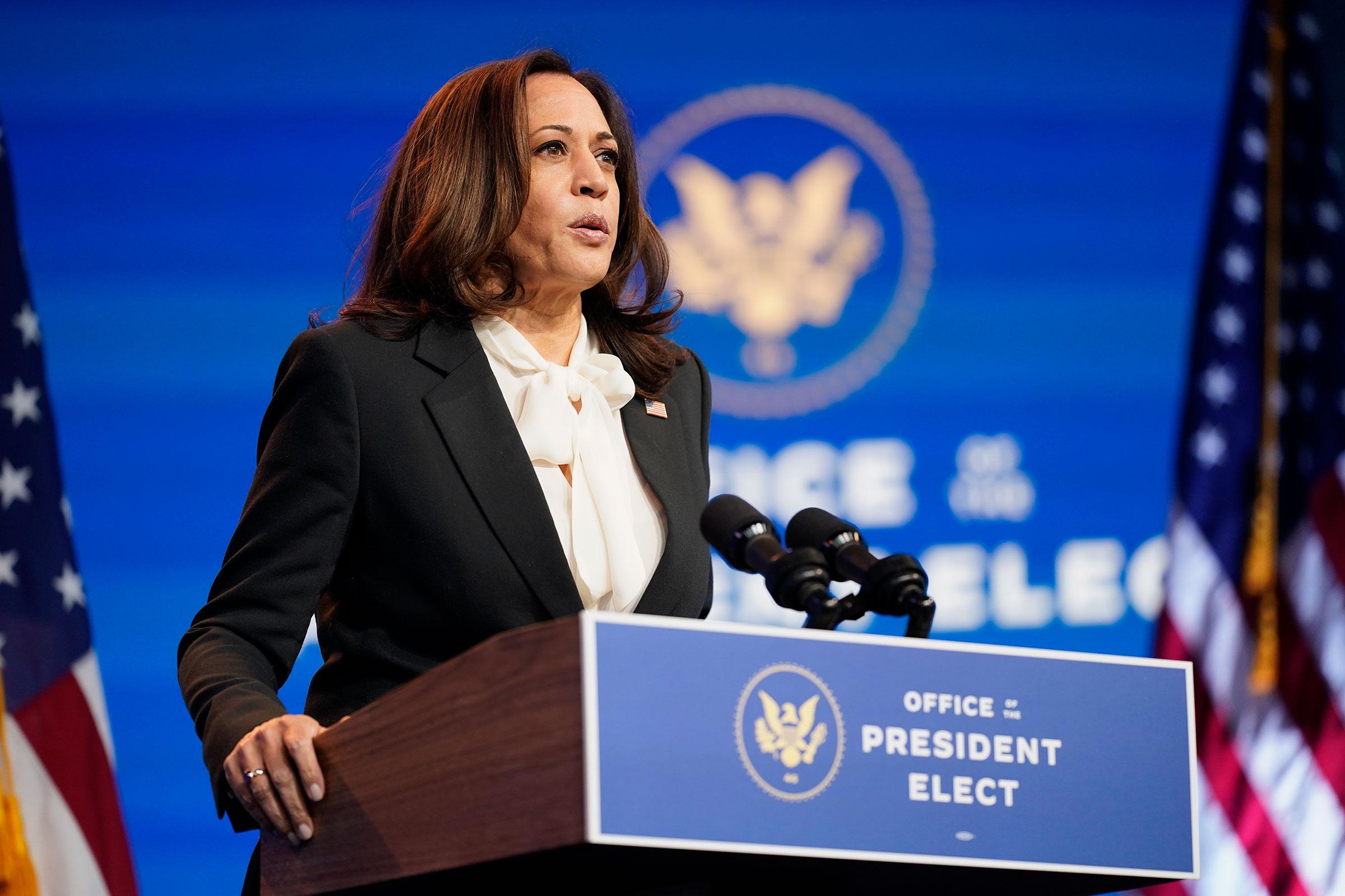 Vice President-elect Kamala Harris speaks on Thursday, November 19 in Wilmington, Delaware.