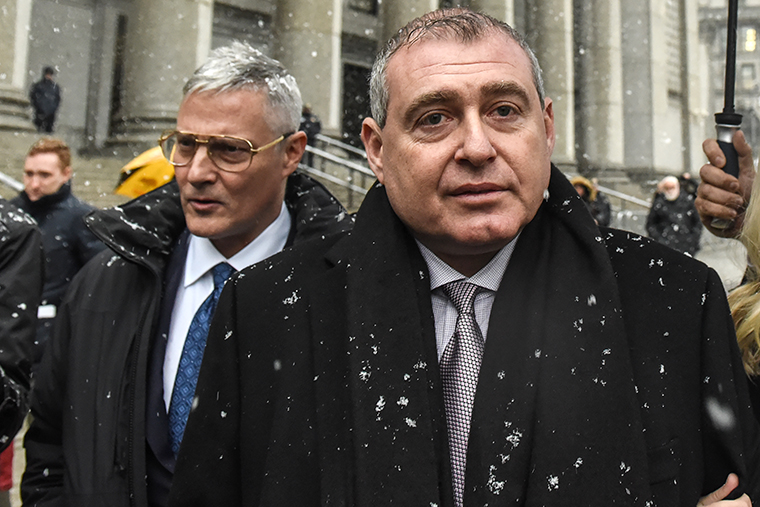 Attorney Joseph Bondy, left, and Lev Parnas depart federal court December 2, 2019 in New York City.