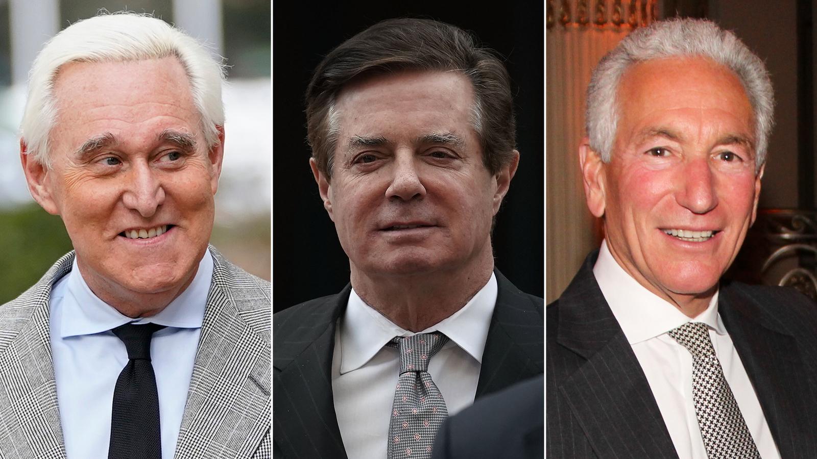 From left, Roger Stone, Paul Manafort and Charles Kushner.