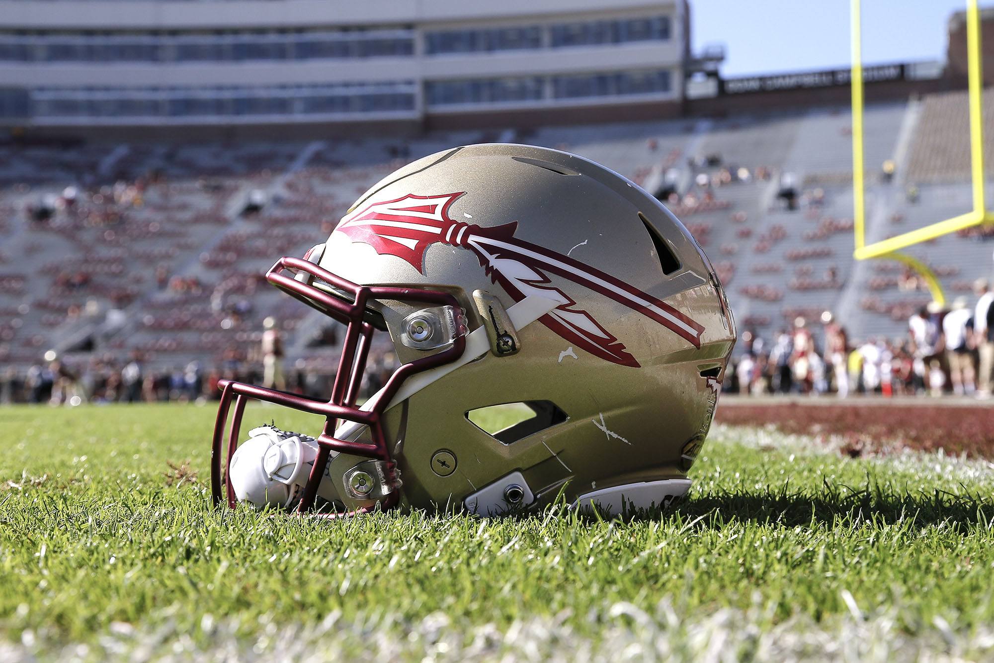 A general view of a Florida State Seminoles Helmet on the field at Doak Campbell Stadium on December 2, 2017.