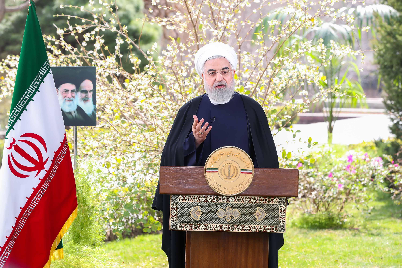 Iranian President Hassan Rouhani speaks about the coronavirus outbreak in Tehran, Iran on March 20.