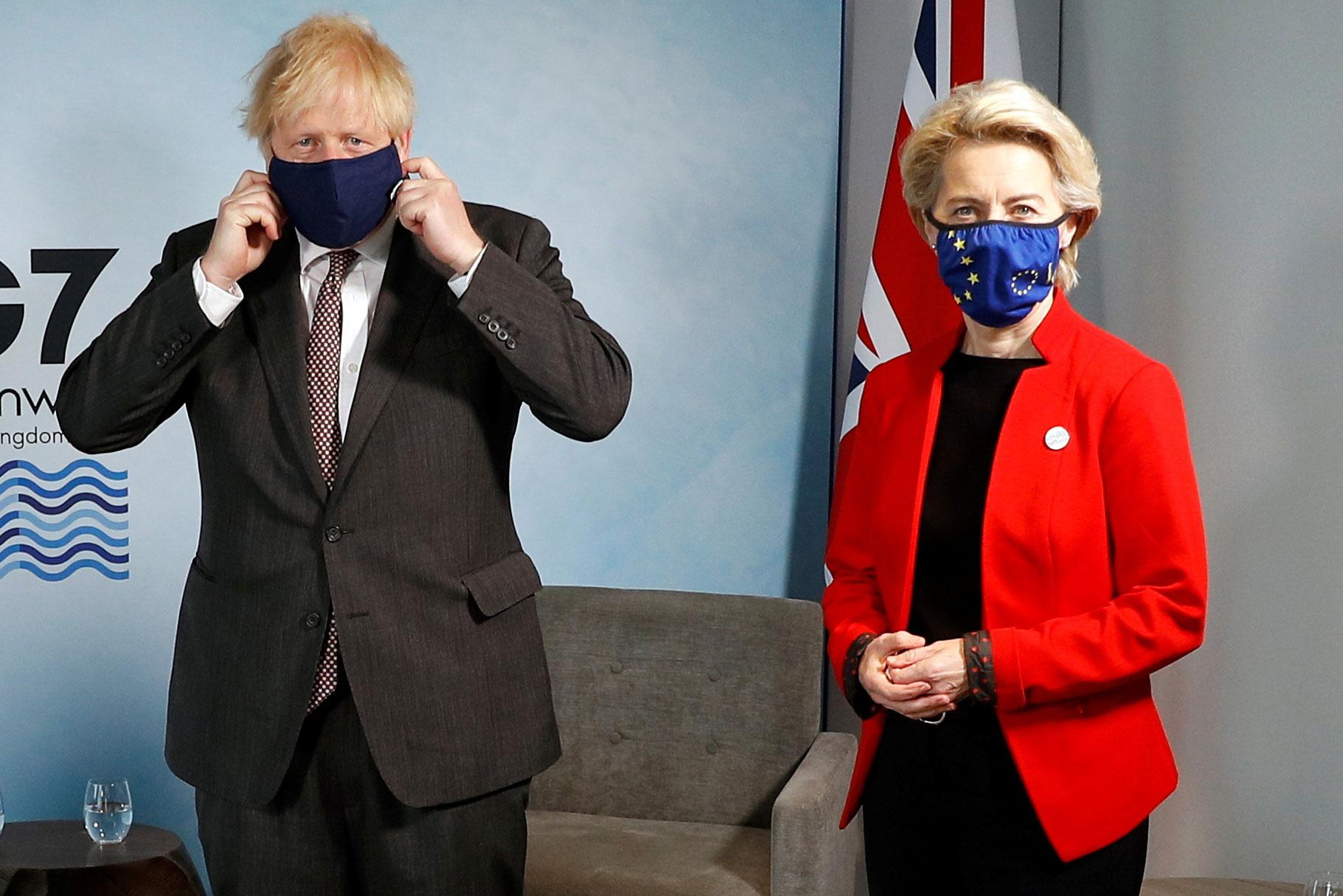 British Prime Minister Boris Johnson meets with European Commission President Ursula von der Leyen during the G7 summit in Carbis Bay, England, on June 12.