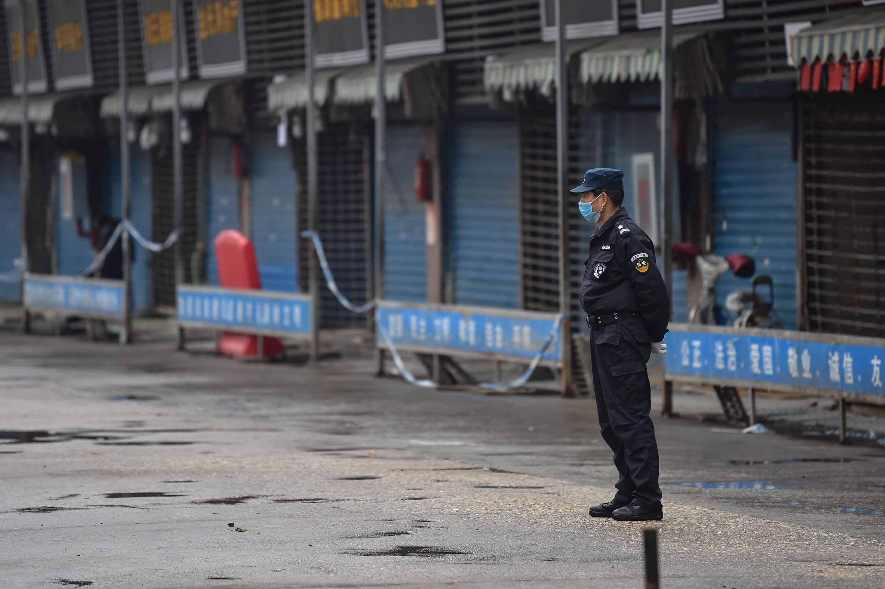 A security guard stands outside the Huanan Seafood Wholesale Market in Wuhan on January 24. Chinese health authorities closed the market after it was discovered that wild animals sold there may be the source of the virus.