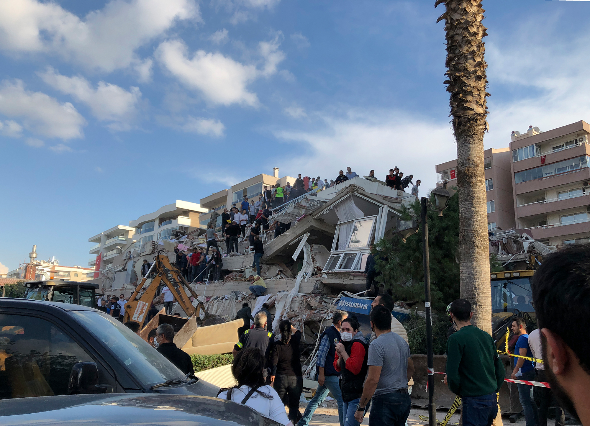 A collapsed building in Izmir on Friday, Oct. 30, 2020.