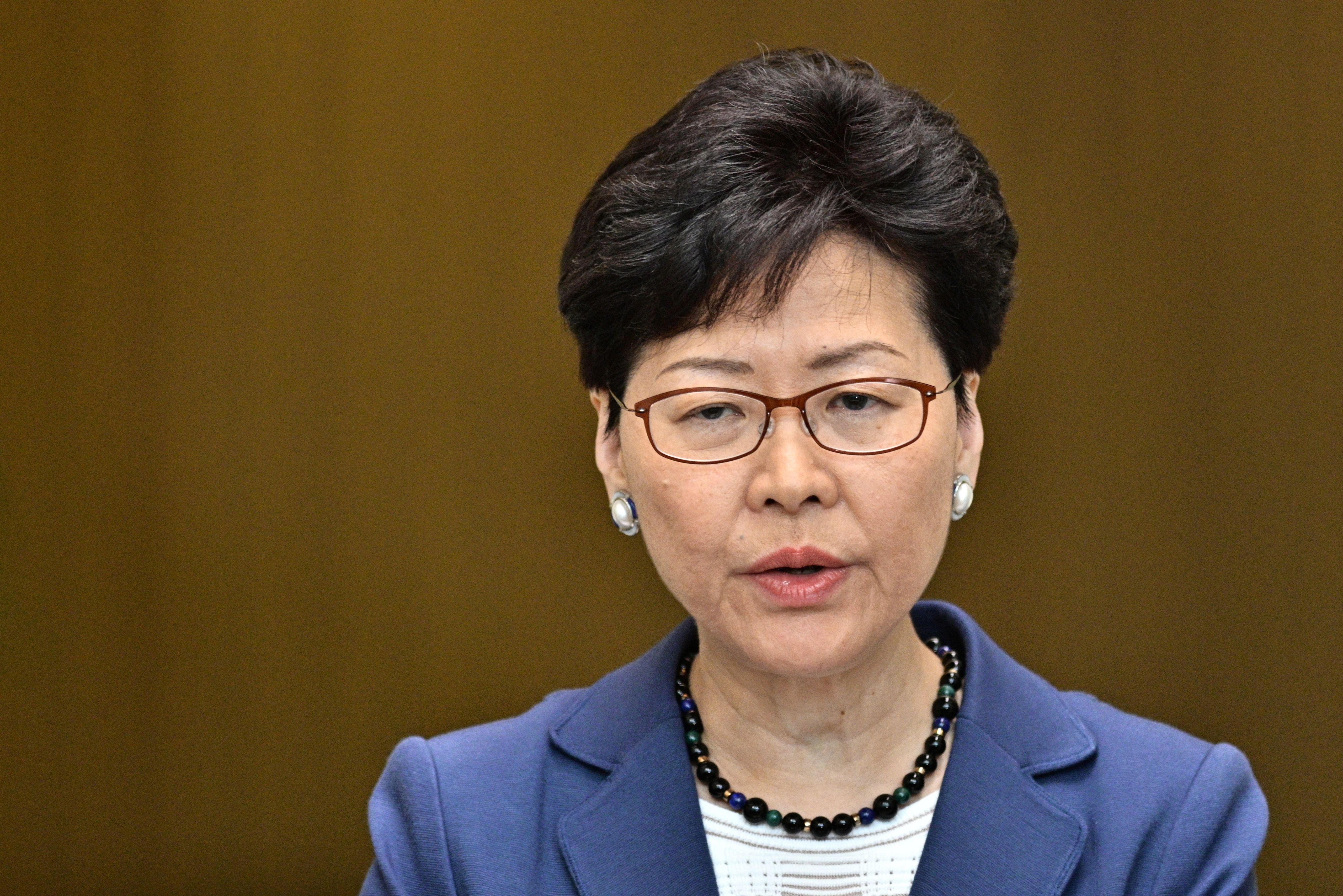 Chief Executive Carrie Lam speaks during a press conference at the government headquarters in Hong Kong on June 10, 2019.