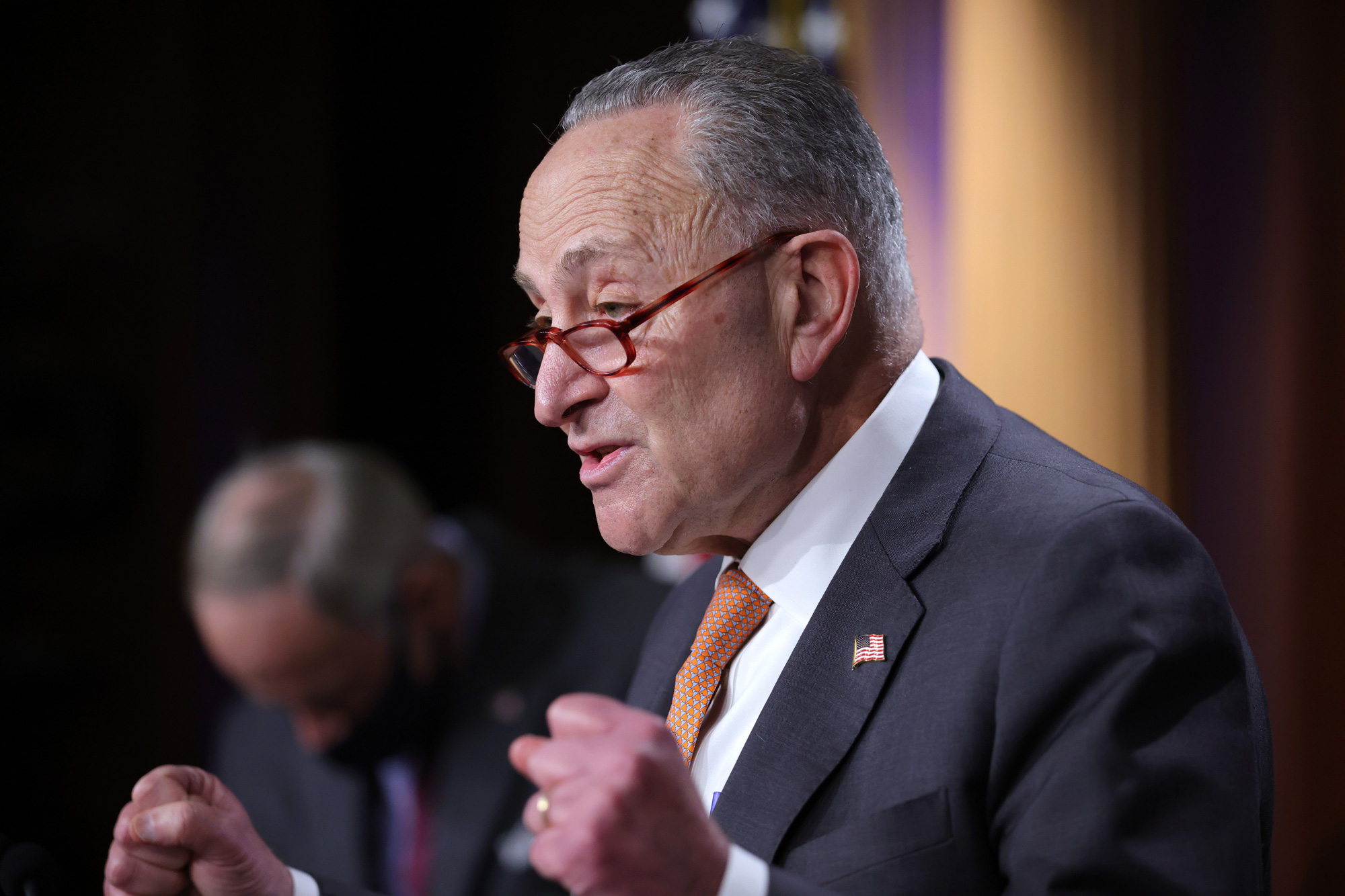 Senate Minority Leader Chuck Schumer speaks during a press conference at the U.S. Capitol on December 8 in Washington, DC.