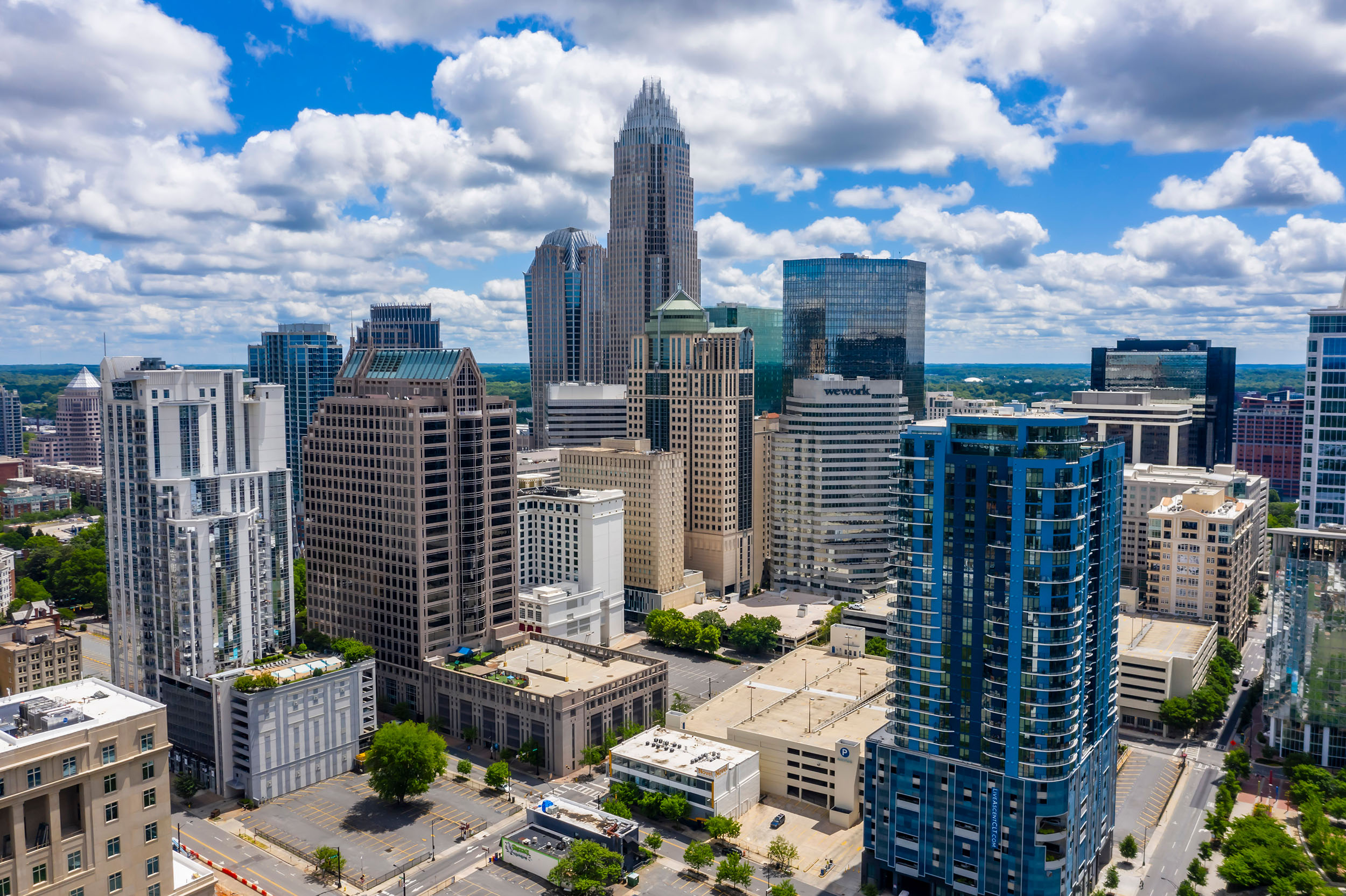 Aerial view of downtown Charlotte, North Carolina.