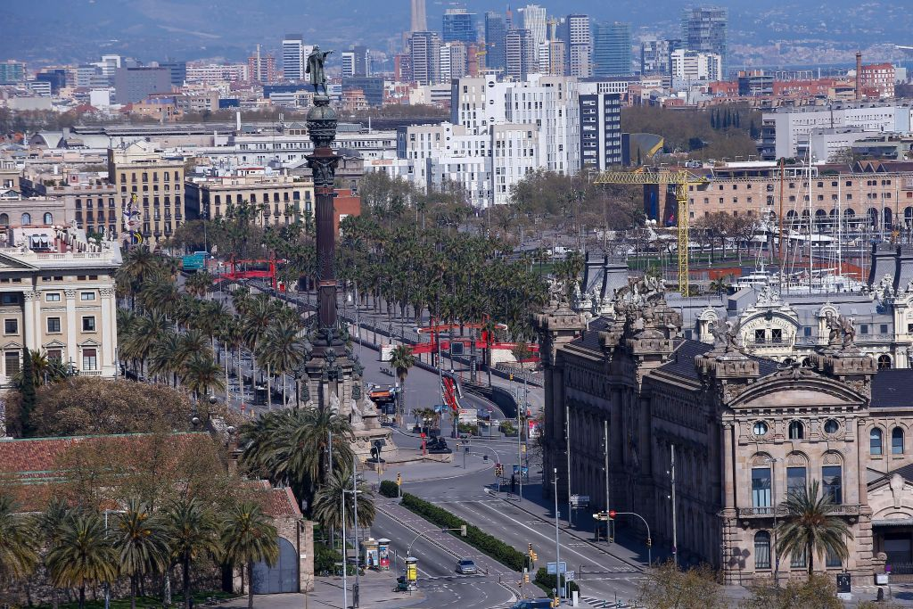 Barcelona lies empty during Spain's lockdown.