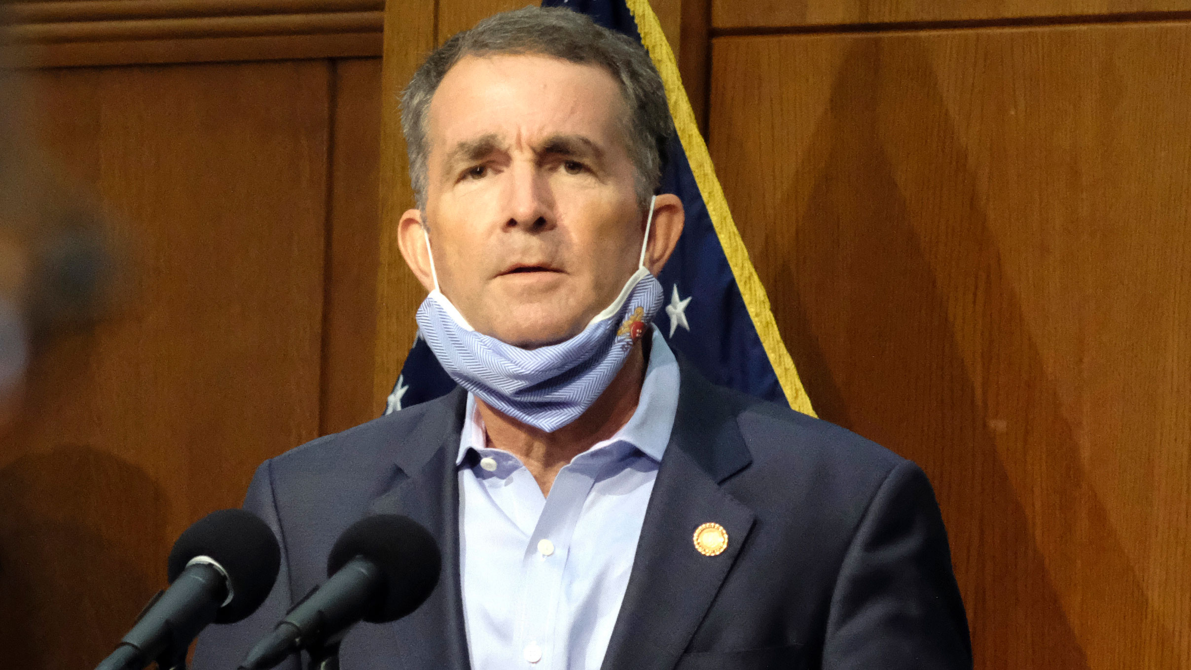 Gov. Ralph Northam holds a press briefing in Richmond, Virginia, on September 1.
