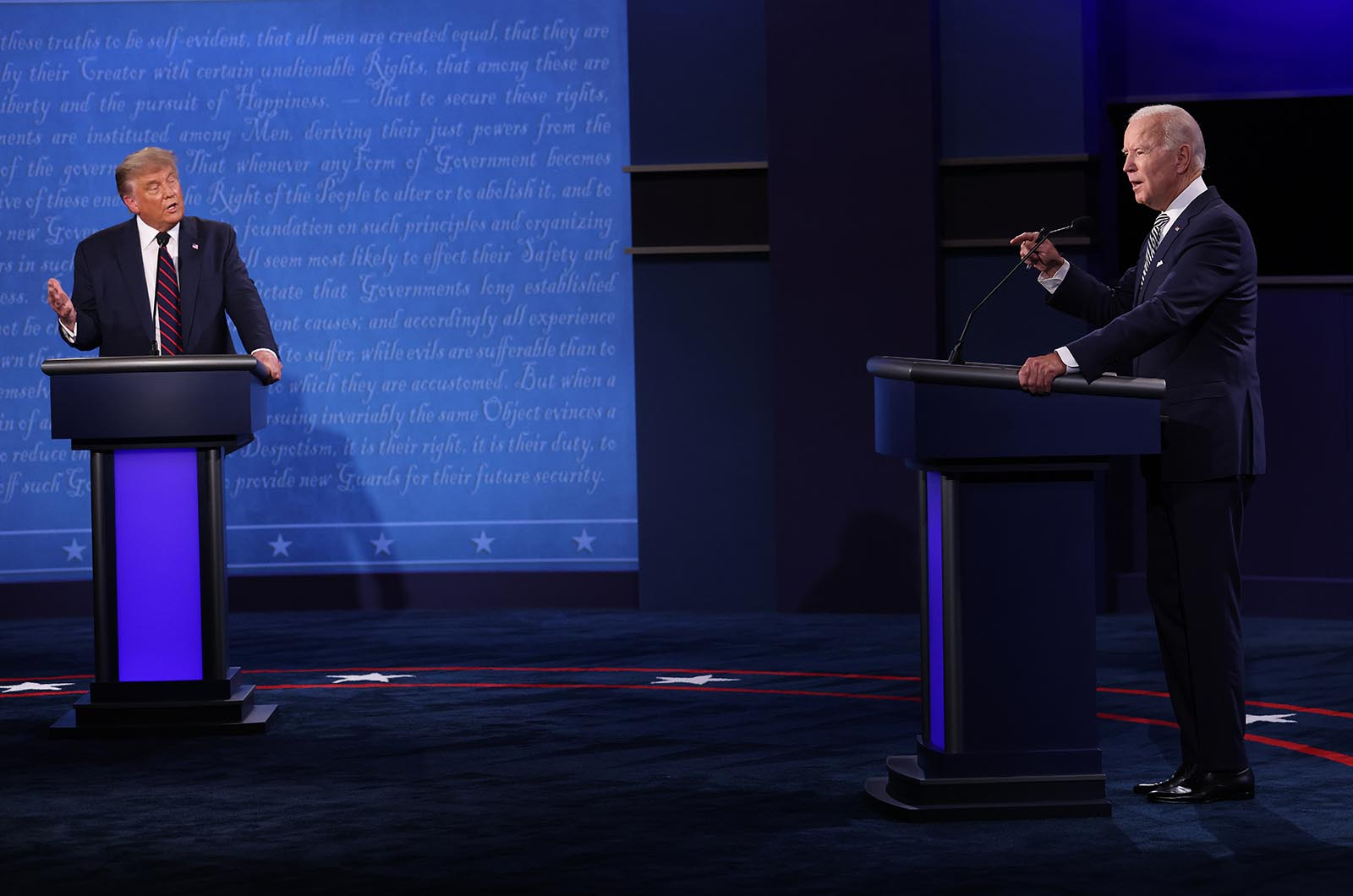 President Donald Trump and Democratic presidential nominee Joe Biden participate in the first presidential debate at the Health Education Campus of Case Western Reserve University on September 29 in Cleveland, Ohio.