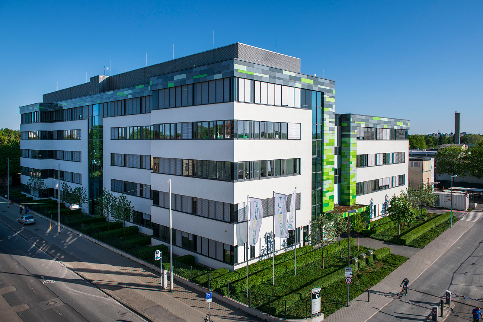 The headquarters of German immunotherapy company BioNTech in Mainz, Germany, on April 22.