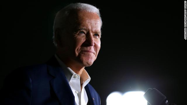 Democratic presidential candidate former Vice President Joe Biden reacts while giving a speech during a campaign event at Tougaloo College on March 8 in Tougaloo, Mississippi.