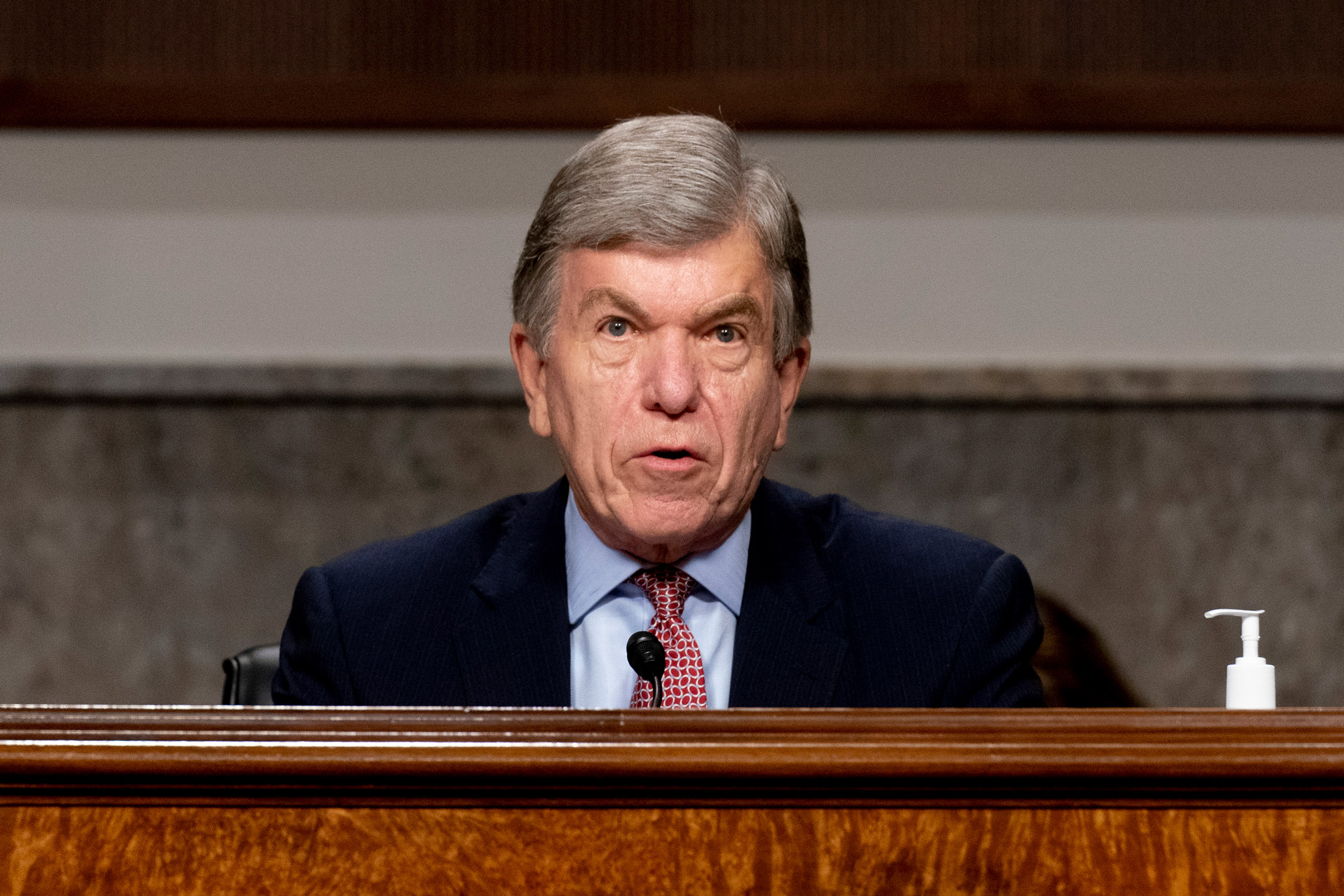 U.S. Senate Appropriations subcommittee Chairman Roy Blunt speaks at a hearing on September 16 in Washington, DC.