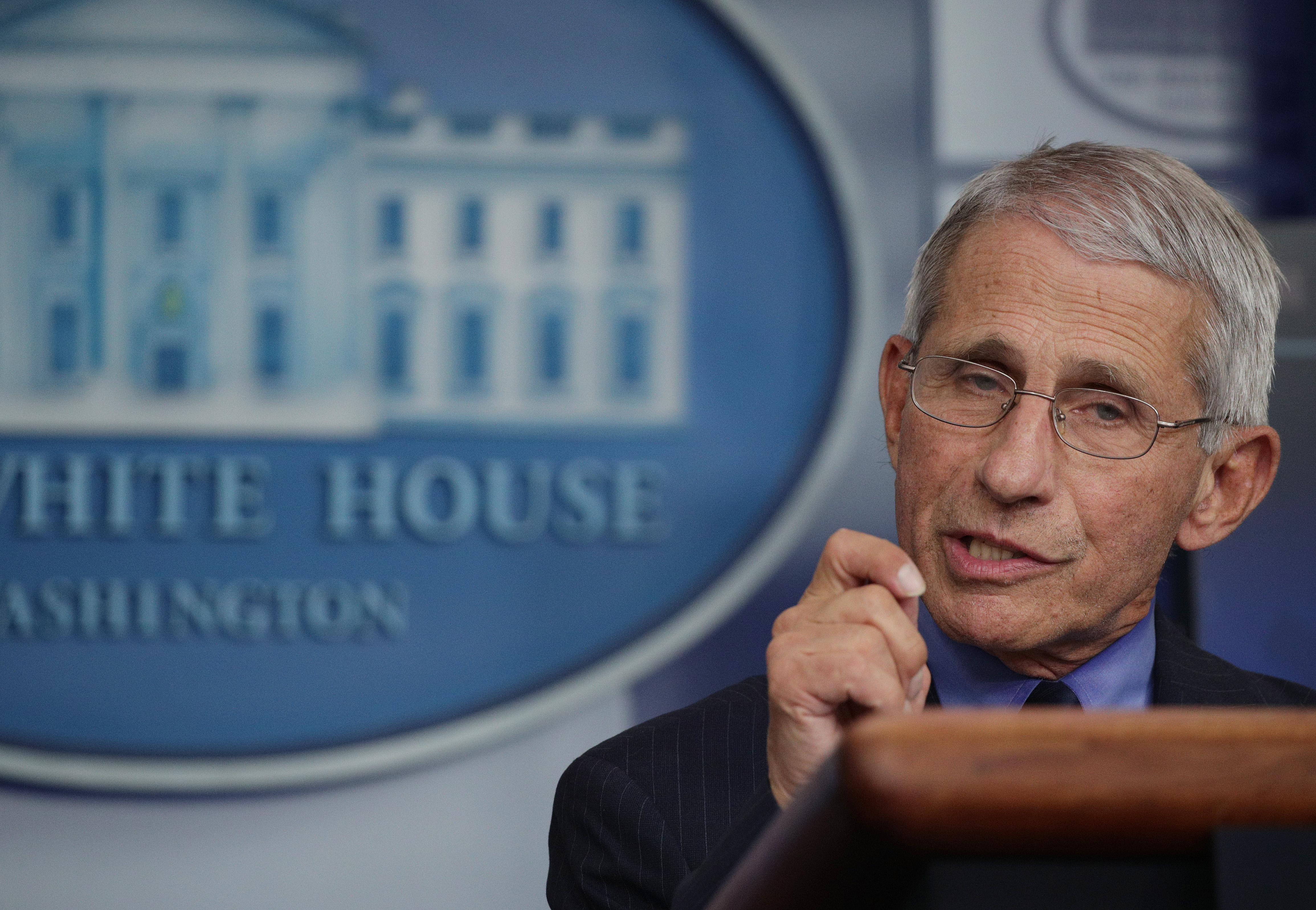 Dr. Anthony Fauci, director of the National Institute of Allergy and Infectious Diseases, speaks at a coronavirus briefing at the White House on April 17.