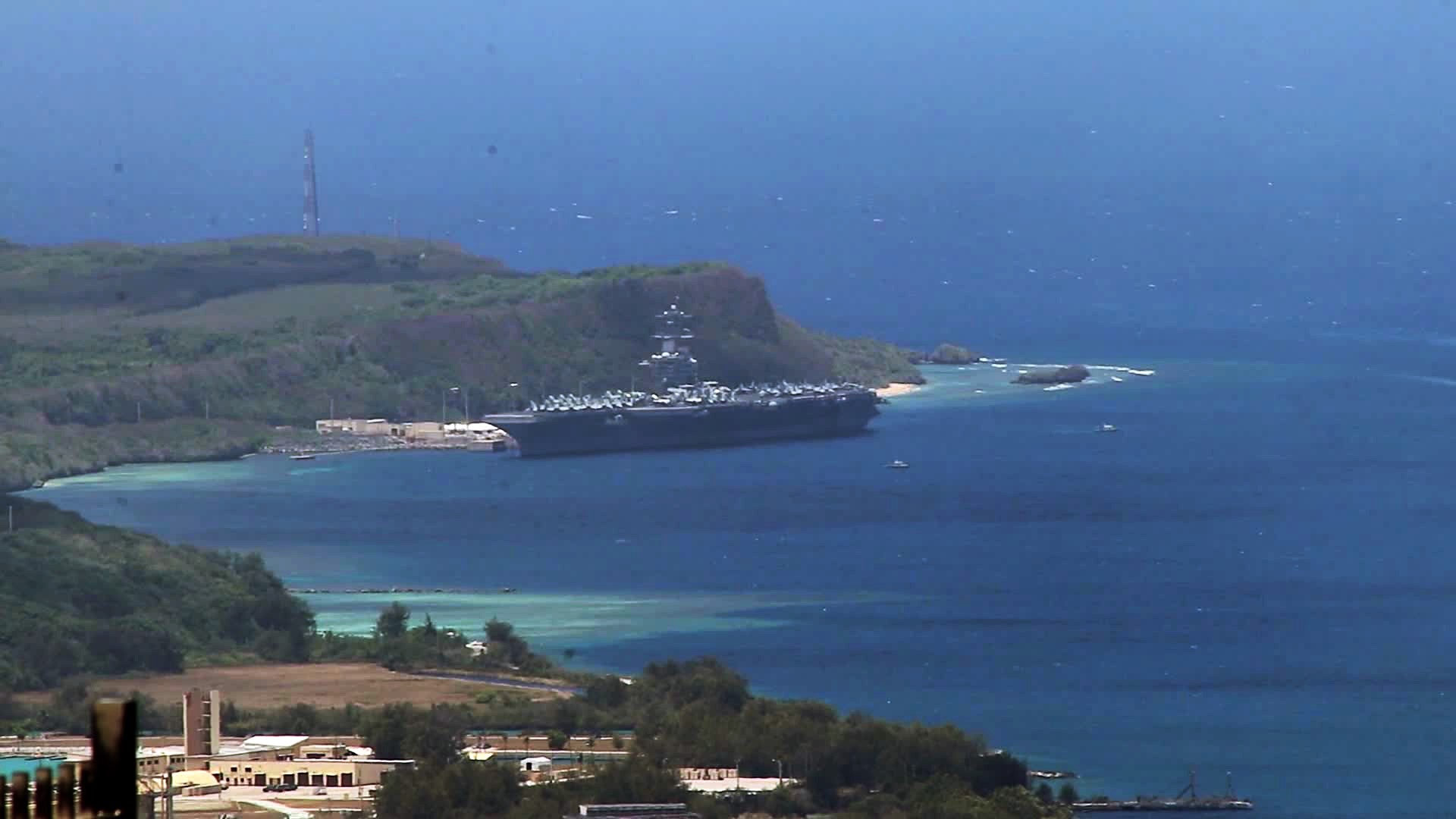 The USS Theodore Roosevelt is seen in Guam on April 1.