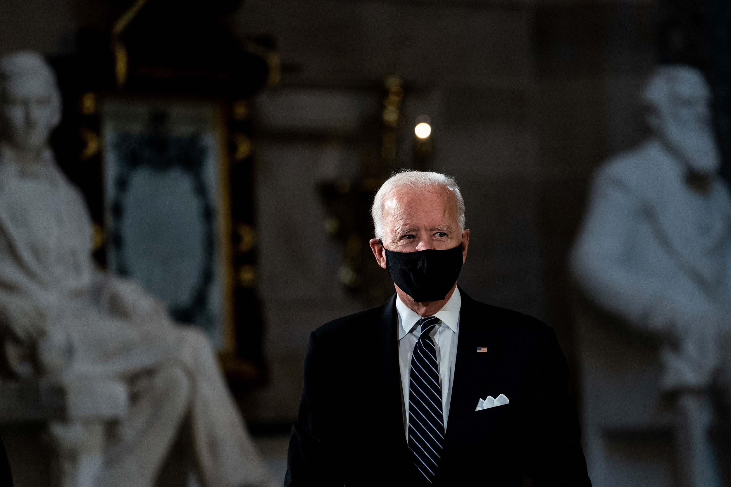 Joe Biden attends a memorial service for Ruth Bader Ginsburg in the Statuary Hall at the US Capitol on Friday, September 25.